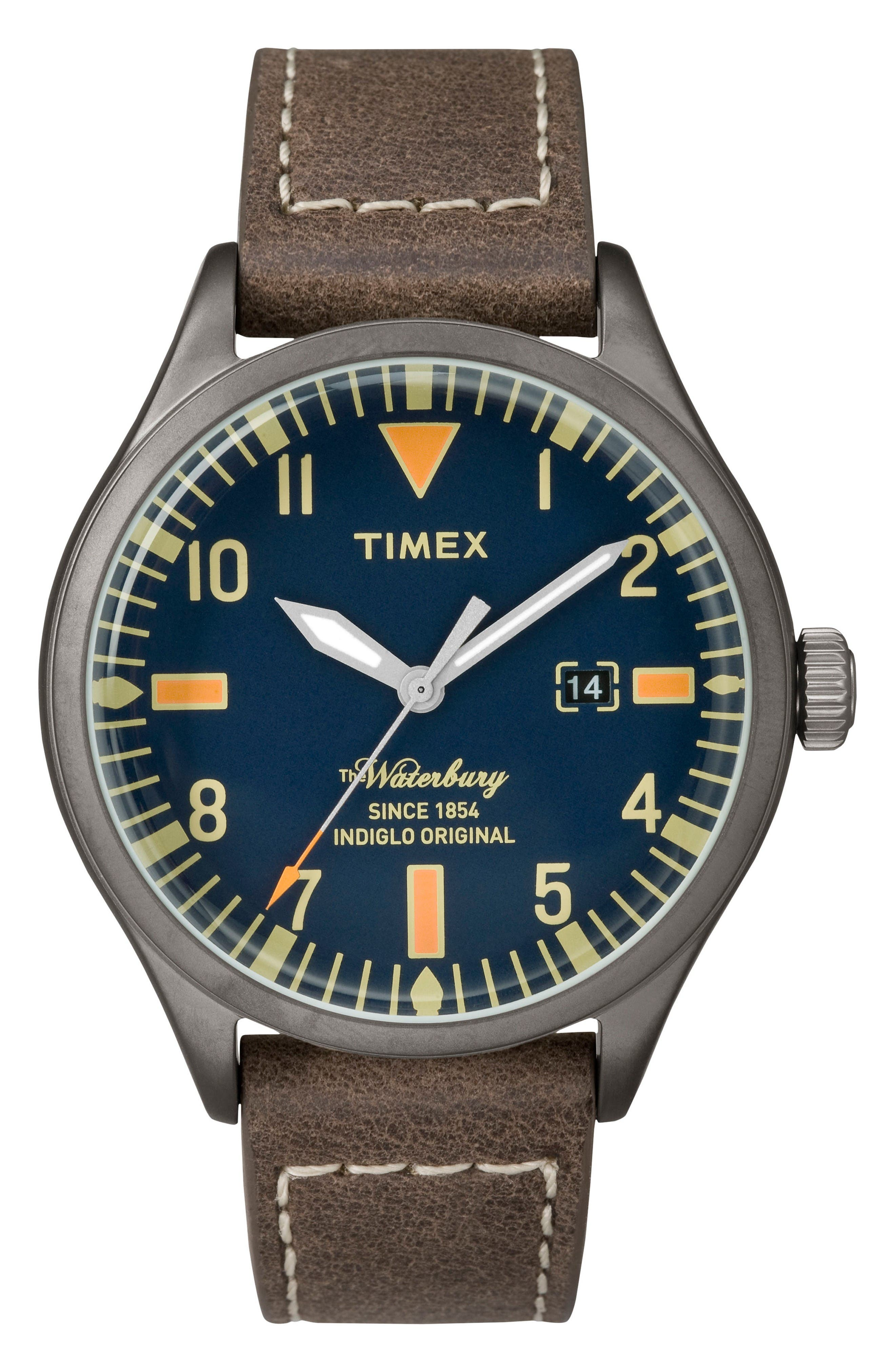 Timex® Waterbury Leather Strap Watch, 40mm