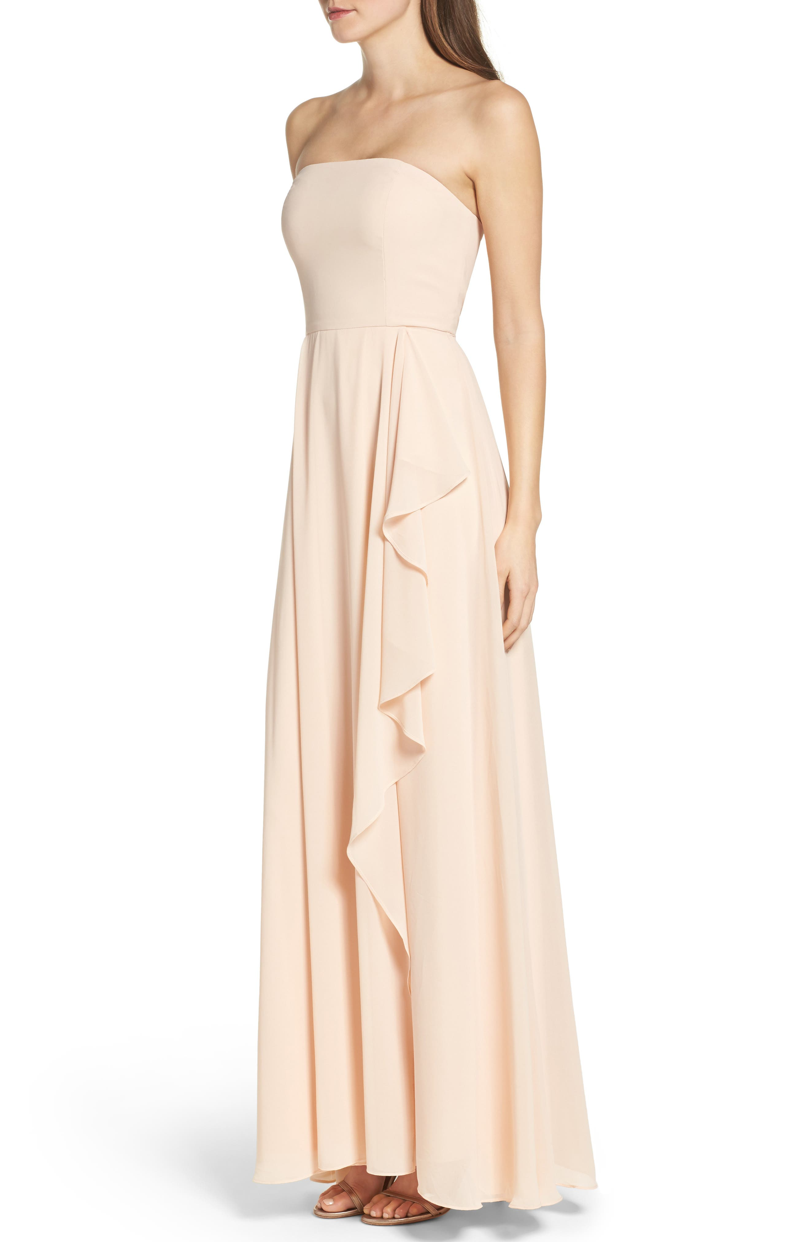 Chiffon Strapless Maxi Dress,                             Alternate thumbnail 3, color,                             Blush