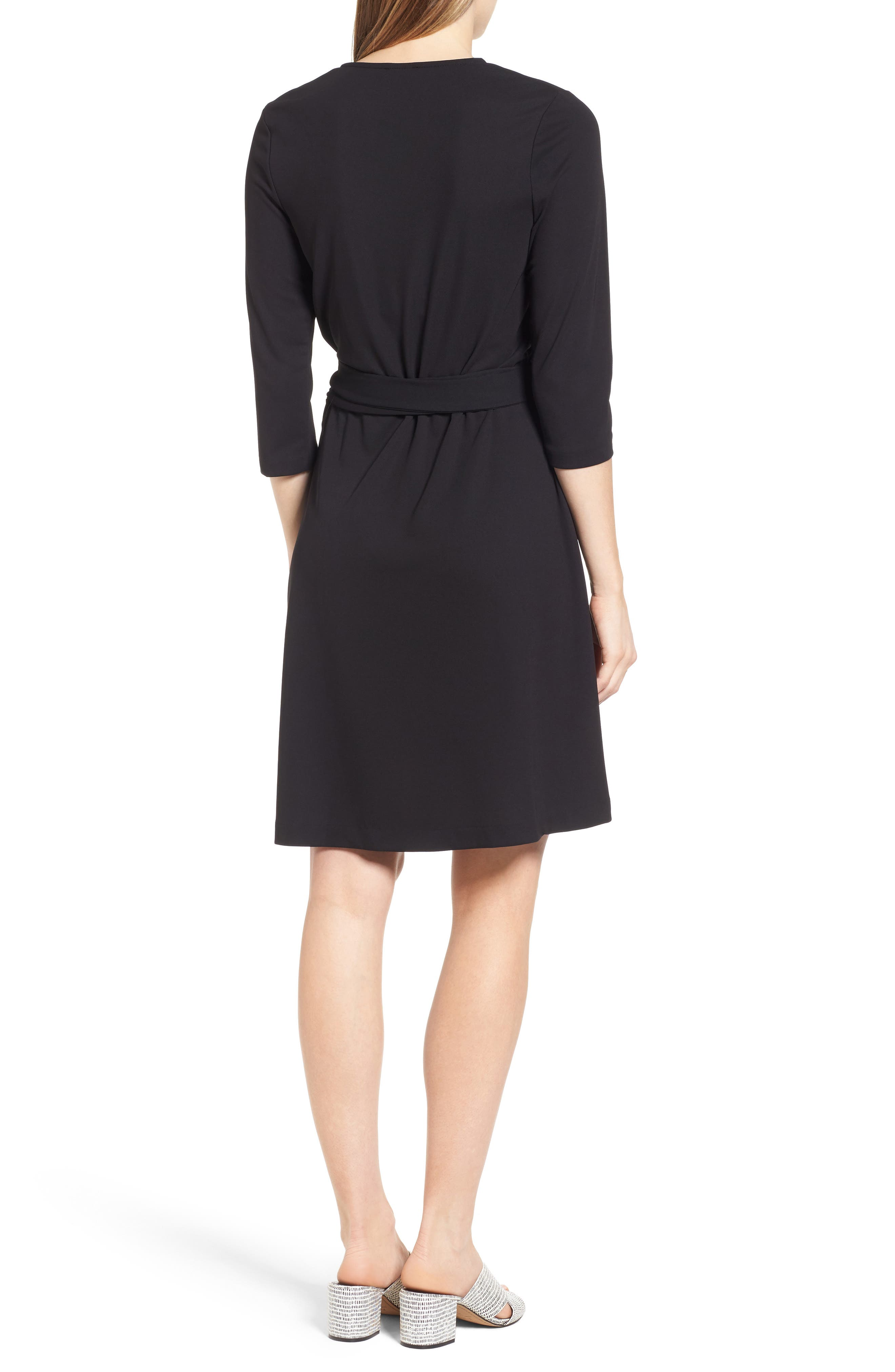 Jersey Wrap Dress,                             Alternate thumbnail 2, color,                             Rich Black