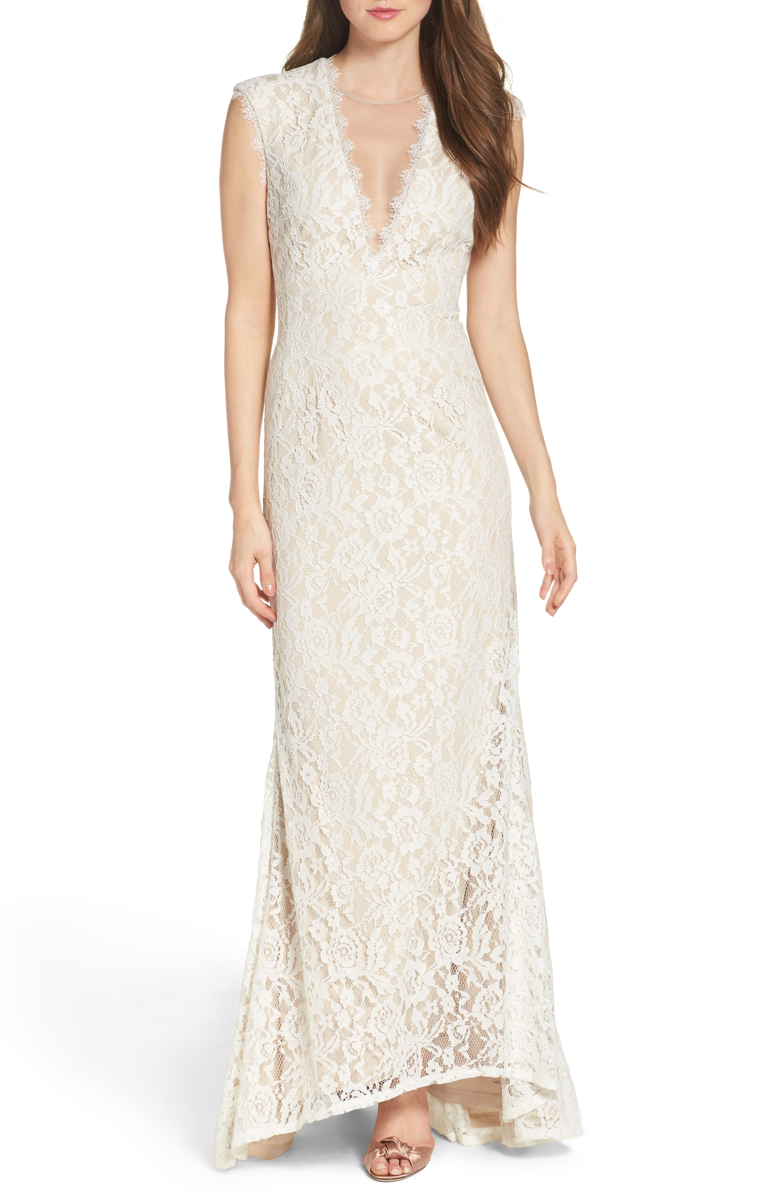 Illusion Lace Column Gown,                         Main,                         color, Ivory/ Nude