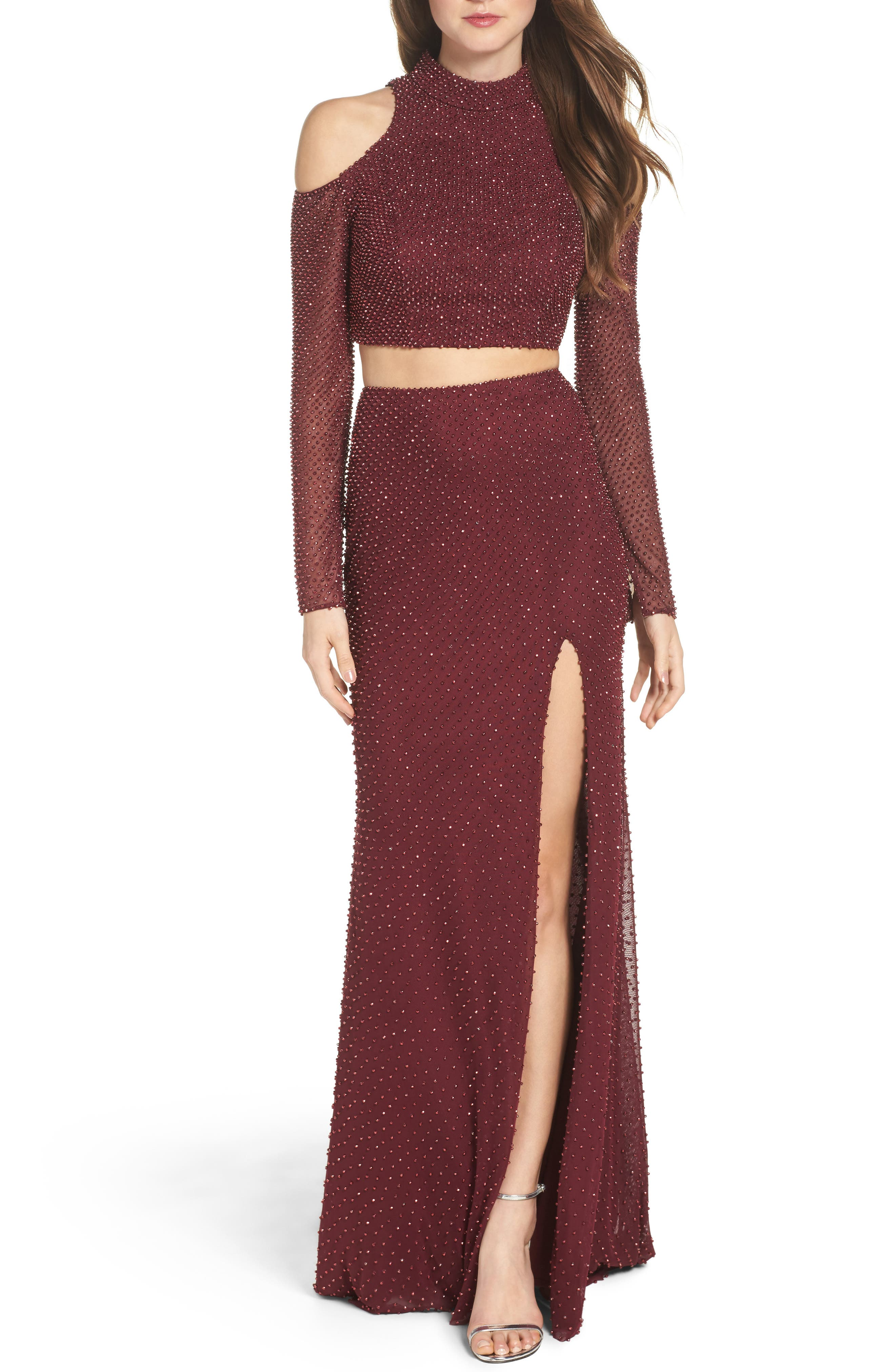 Mesh Two-Piece Gown,                         Main,                         color, Garnet