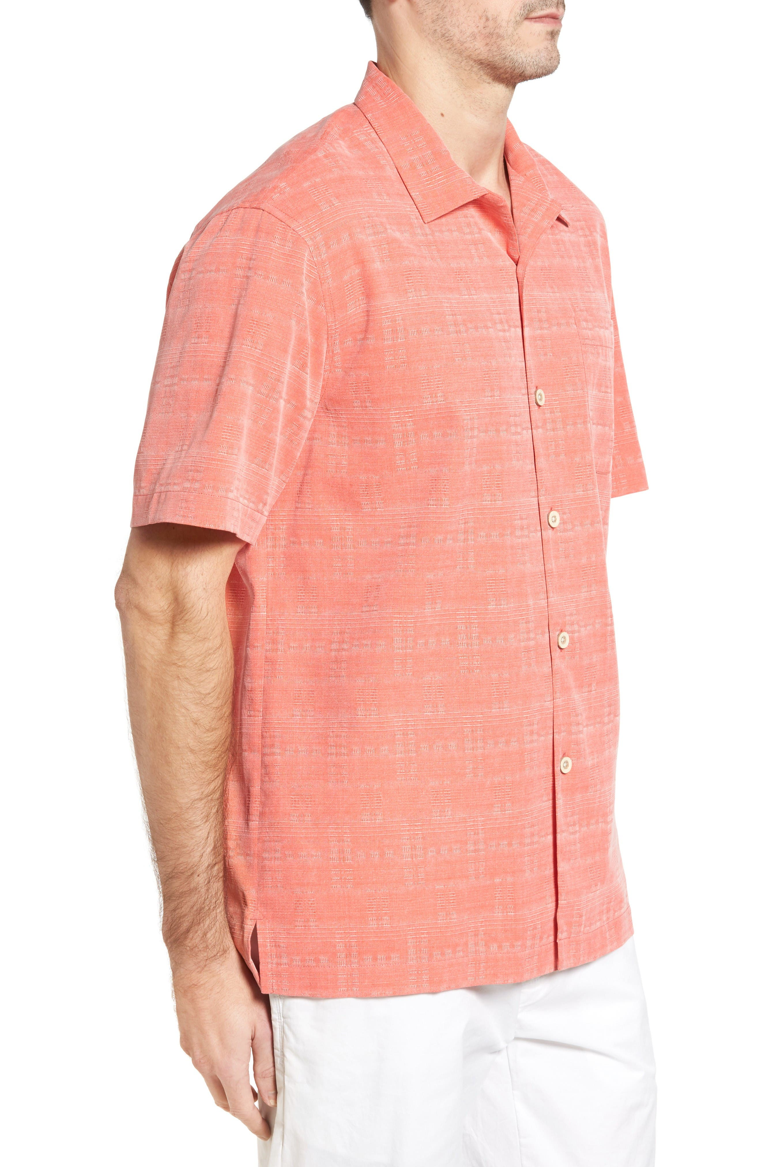 Original Fit Jacquard Silk Camp Shirt,                             Alternate thumbnail 3, color,                             Fusion