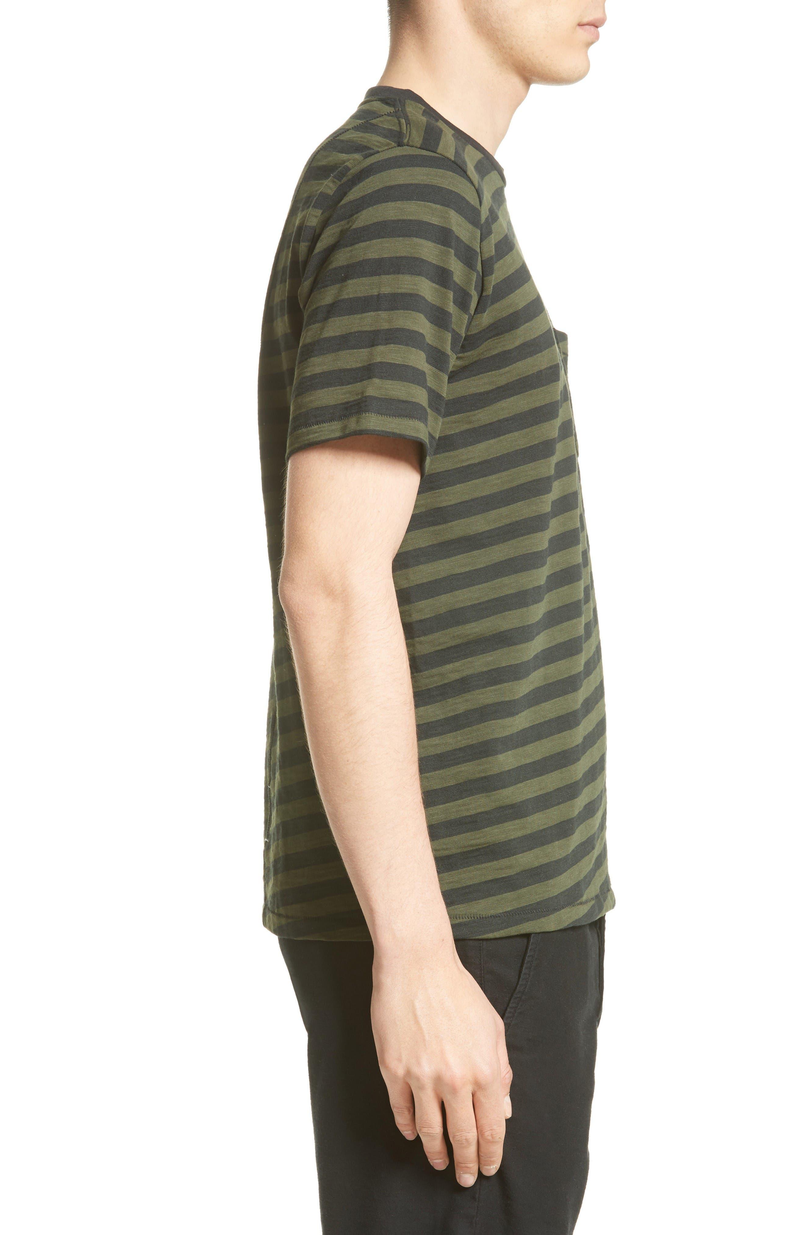 Blake Stripe T-Shirt,                             Alternate thumbnail 3, color,                             Dark Olive/ Black