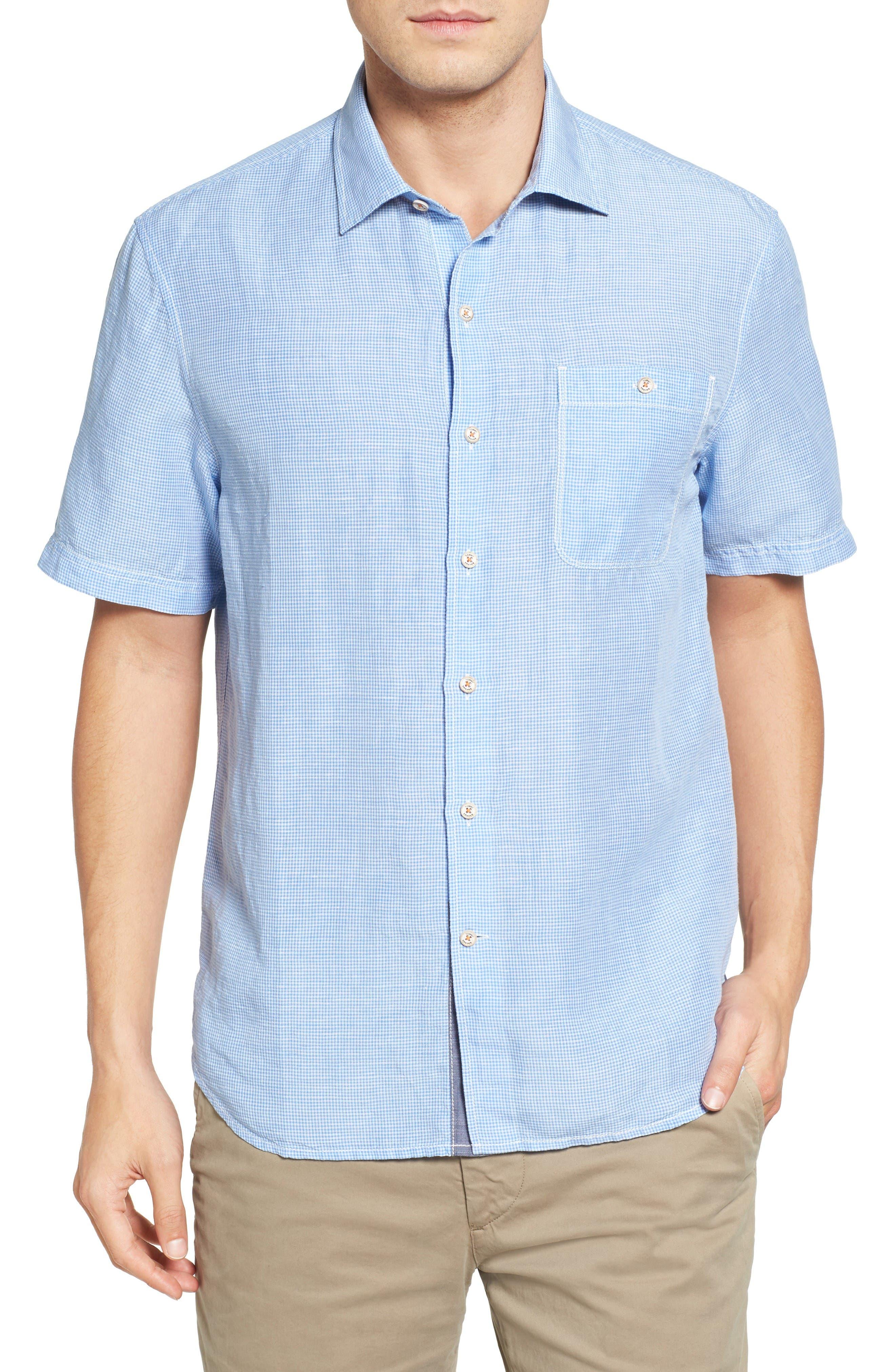 Sand Linen Check Sport Shirt,                         Main,                         color, Big Sky Blue