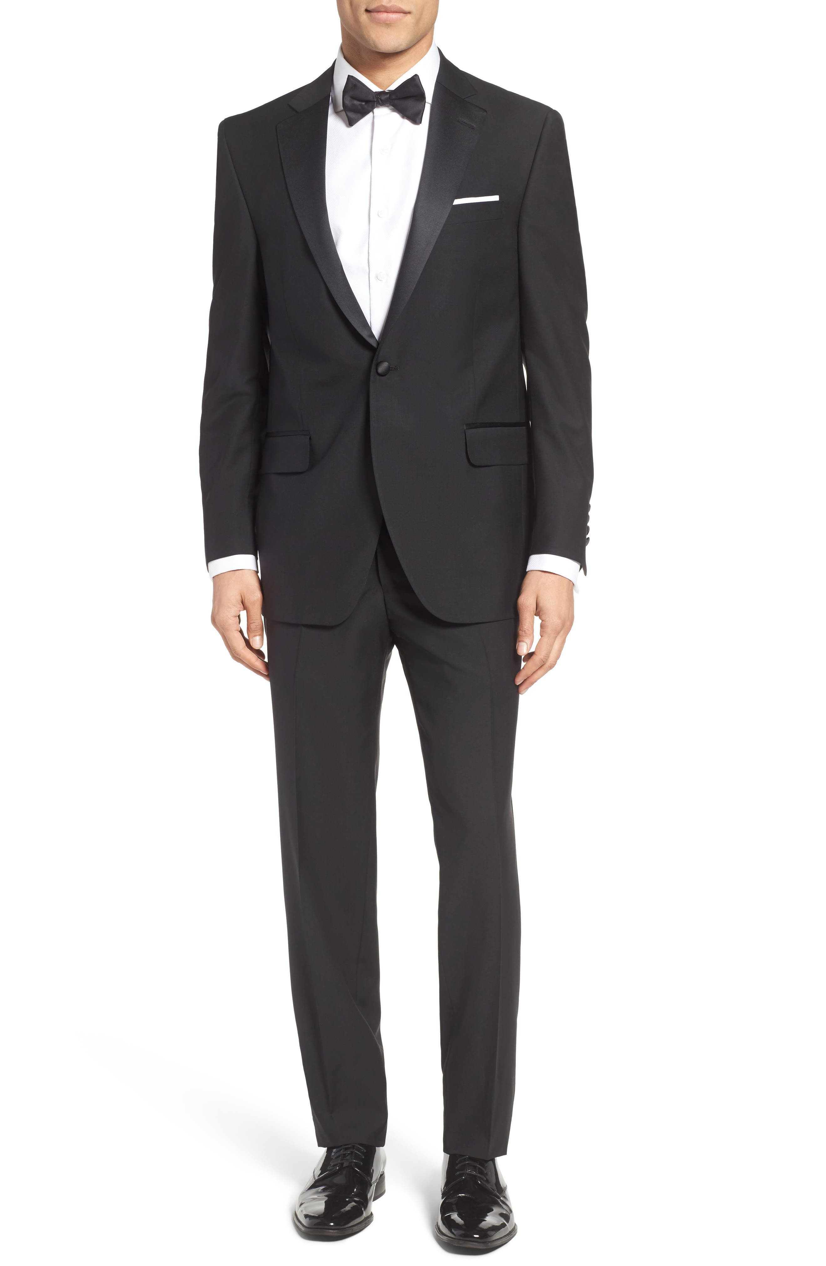Classic Fit Wool & Mohair Tuxedo,                         Main,                         color, Black