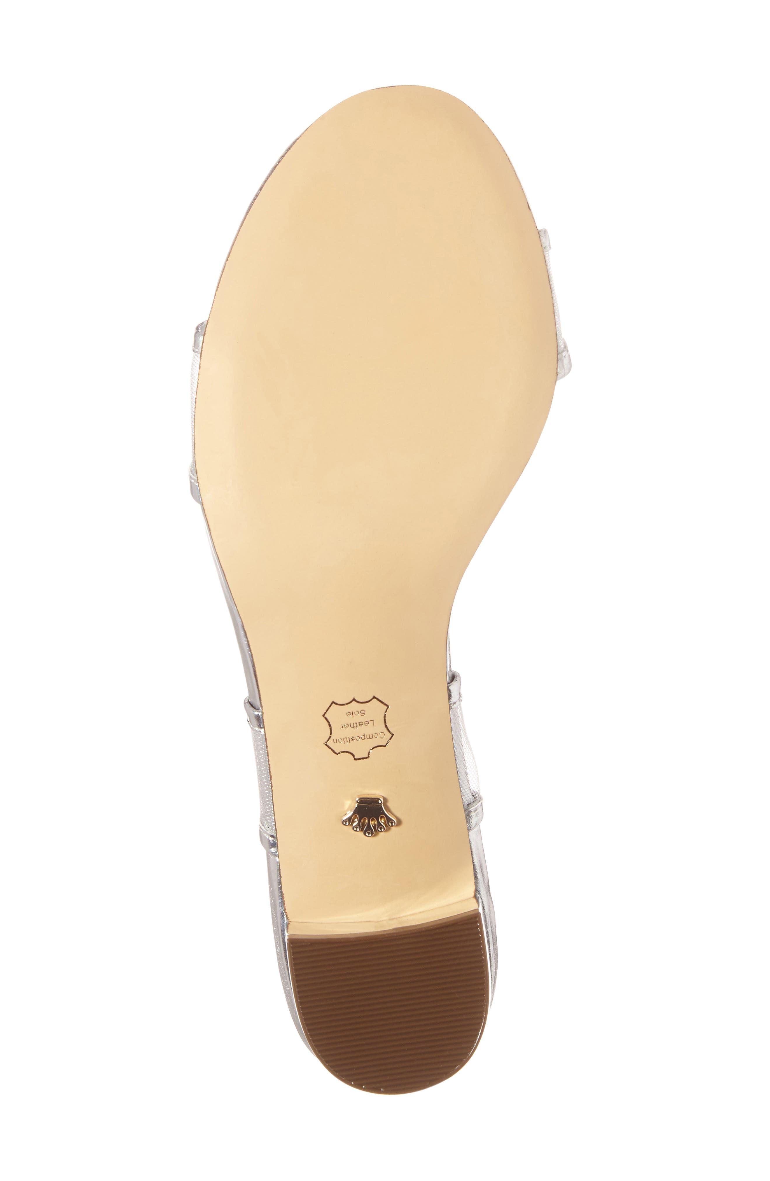 Ganice Mesh Strap Sandal,                             Alternate thumbnail 4, color,                             Silver Faux Leather