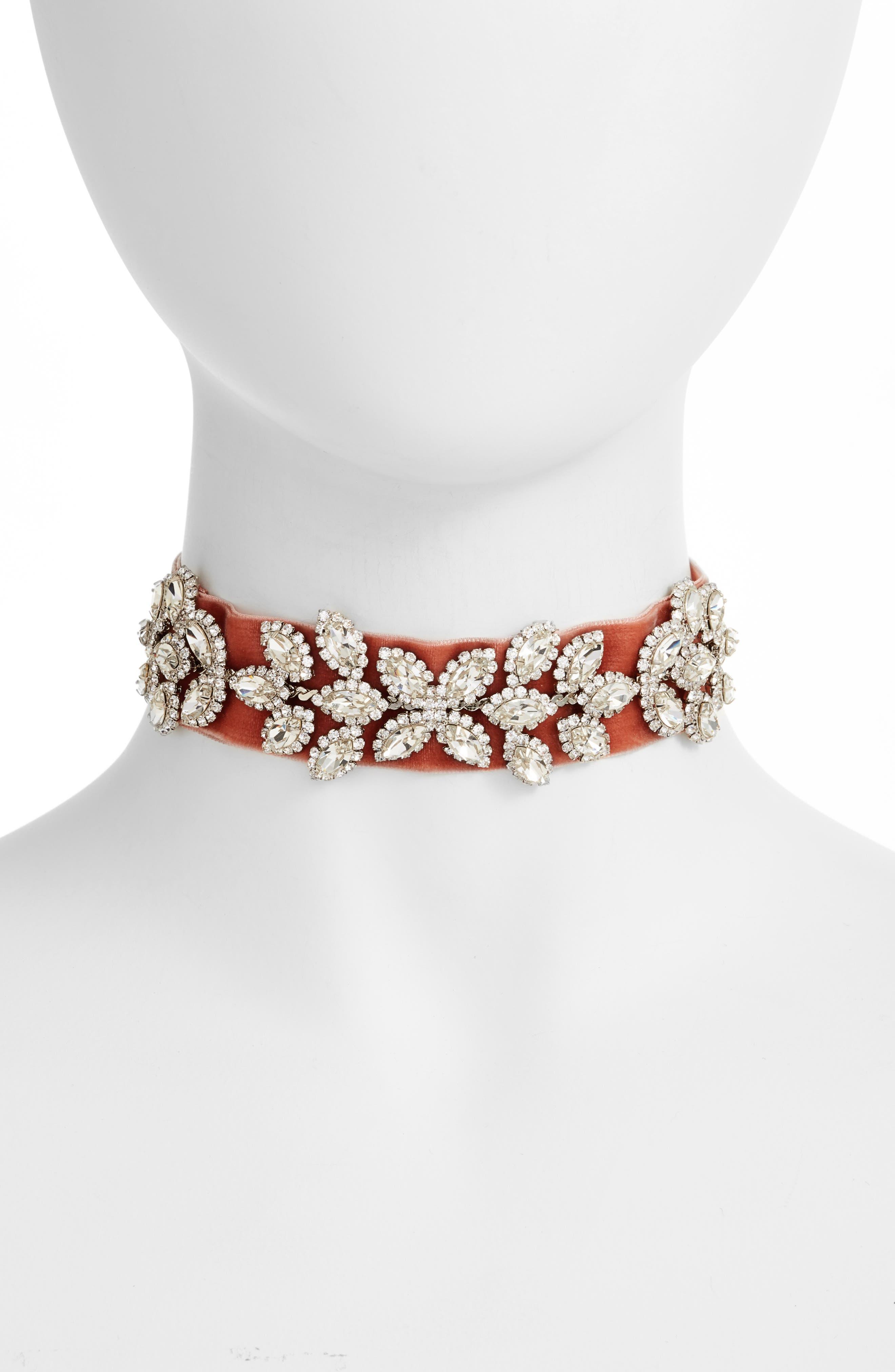 Velvet & Crystal Choker,                         Main,                         color, Antique Rose/ Silver