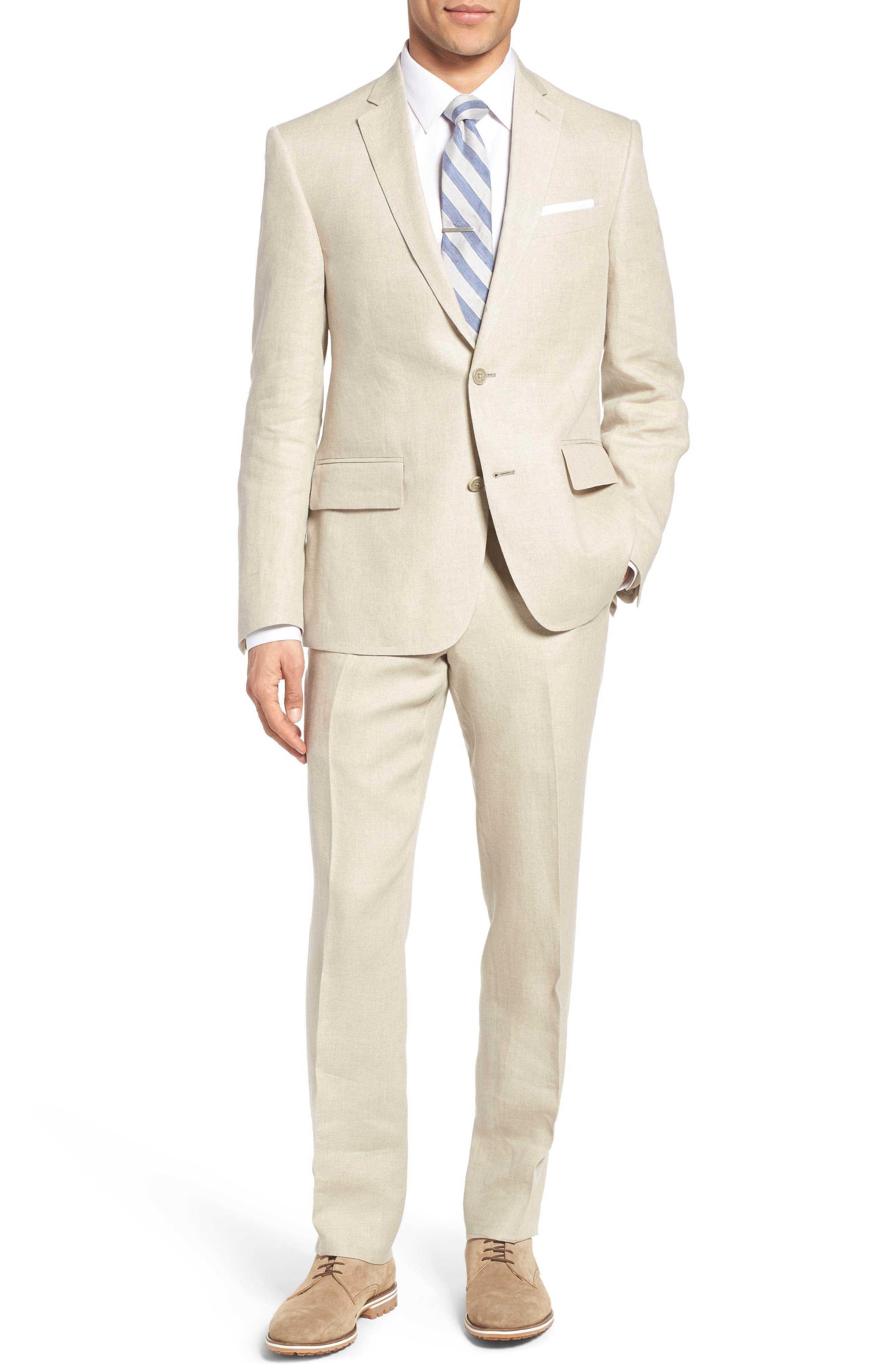 Nordstrom Men's Shop Linen Blazer, Vest & Trousers Outfit with Accessories