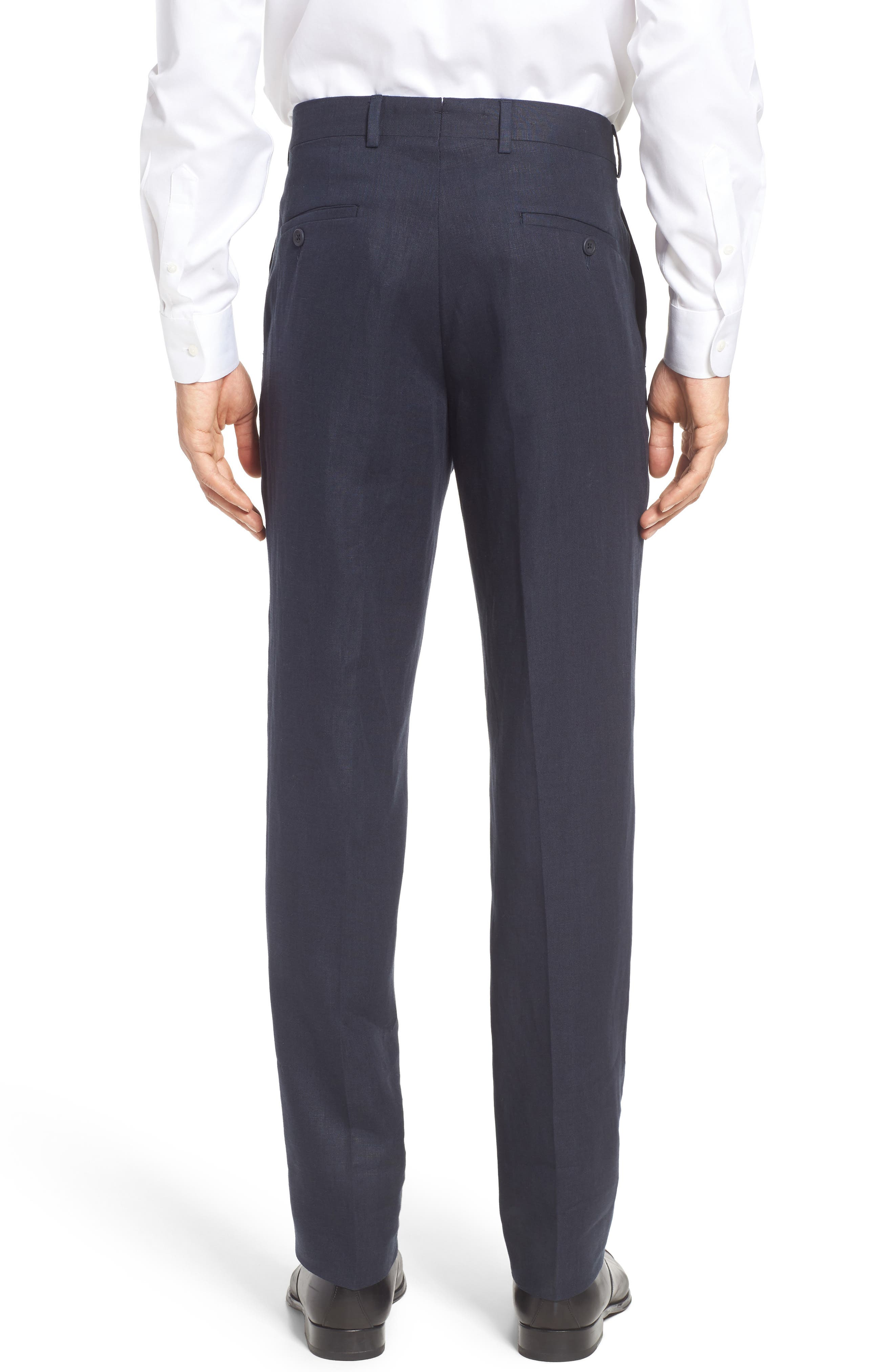 Flat Front Solid Linen Trousers,                             Alternate thumbnail 4, color,                             Navy