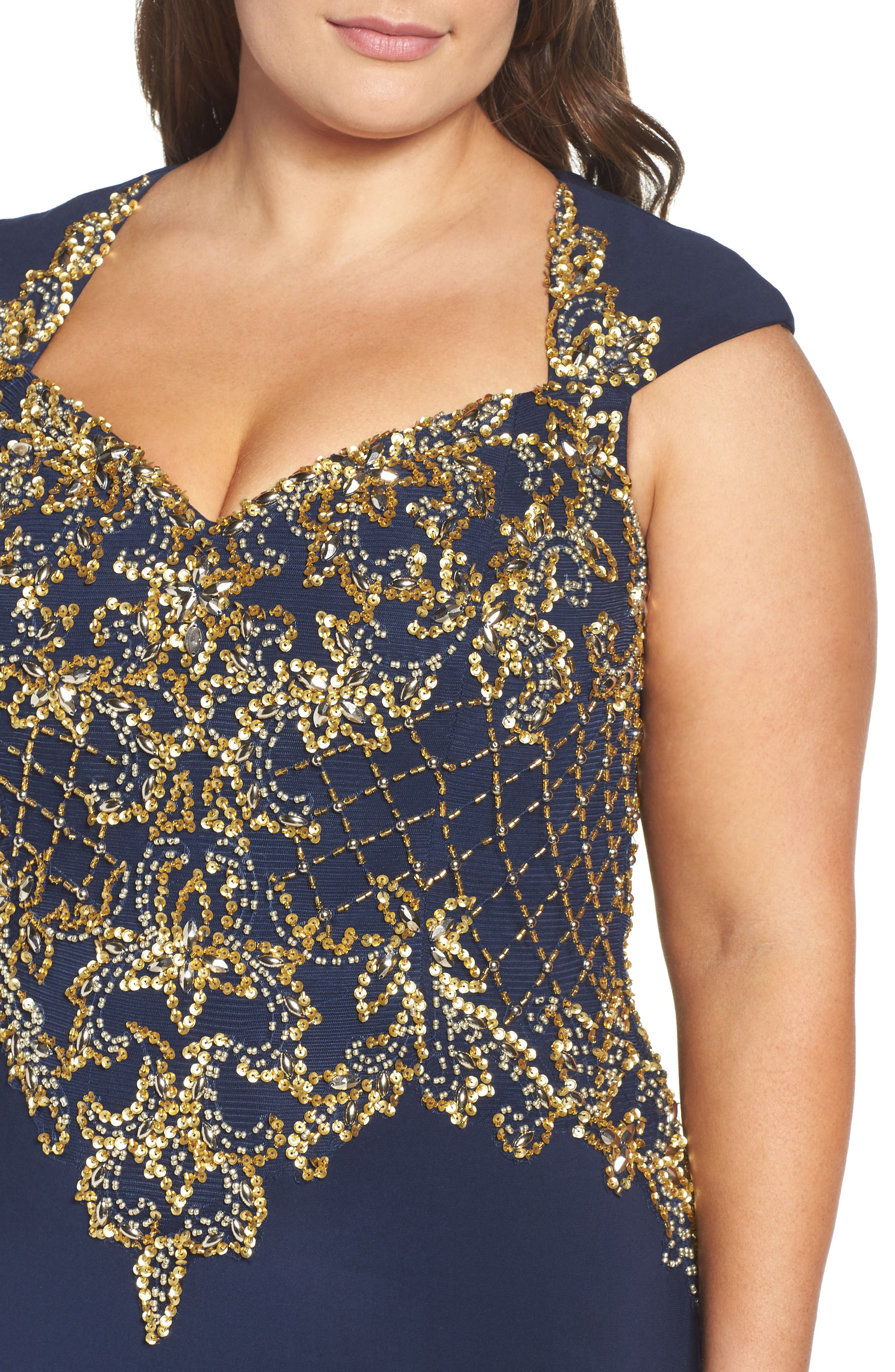 Embellished Jersey Mermaid Gown,                             Alternate thumbnail 4, color,                             Midnight