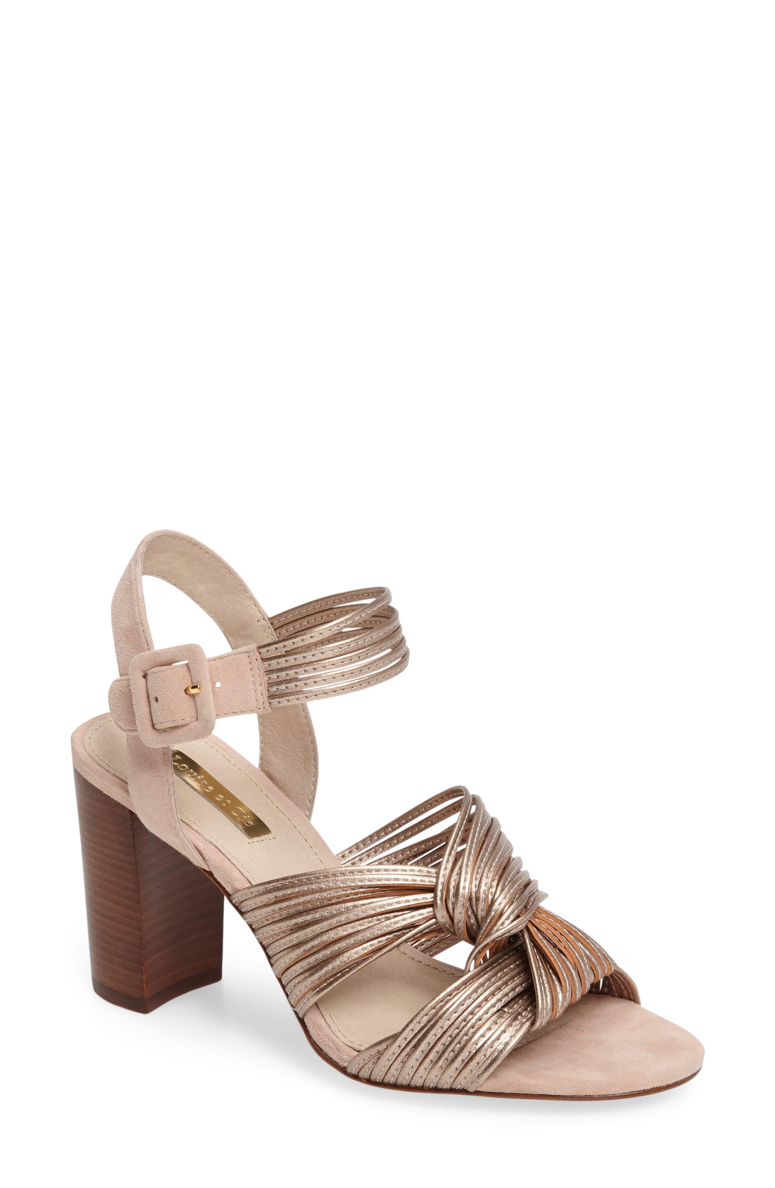 Kamden Knotted Block Heel Sandal,                         Main,                         color, Rose Gold Faux Leather