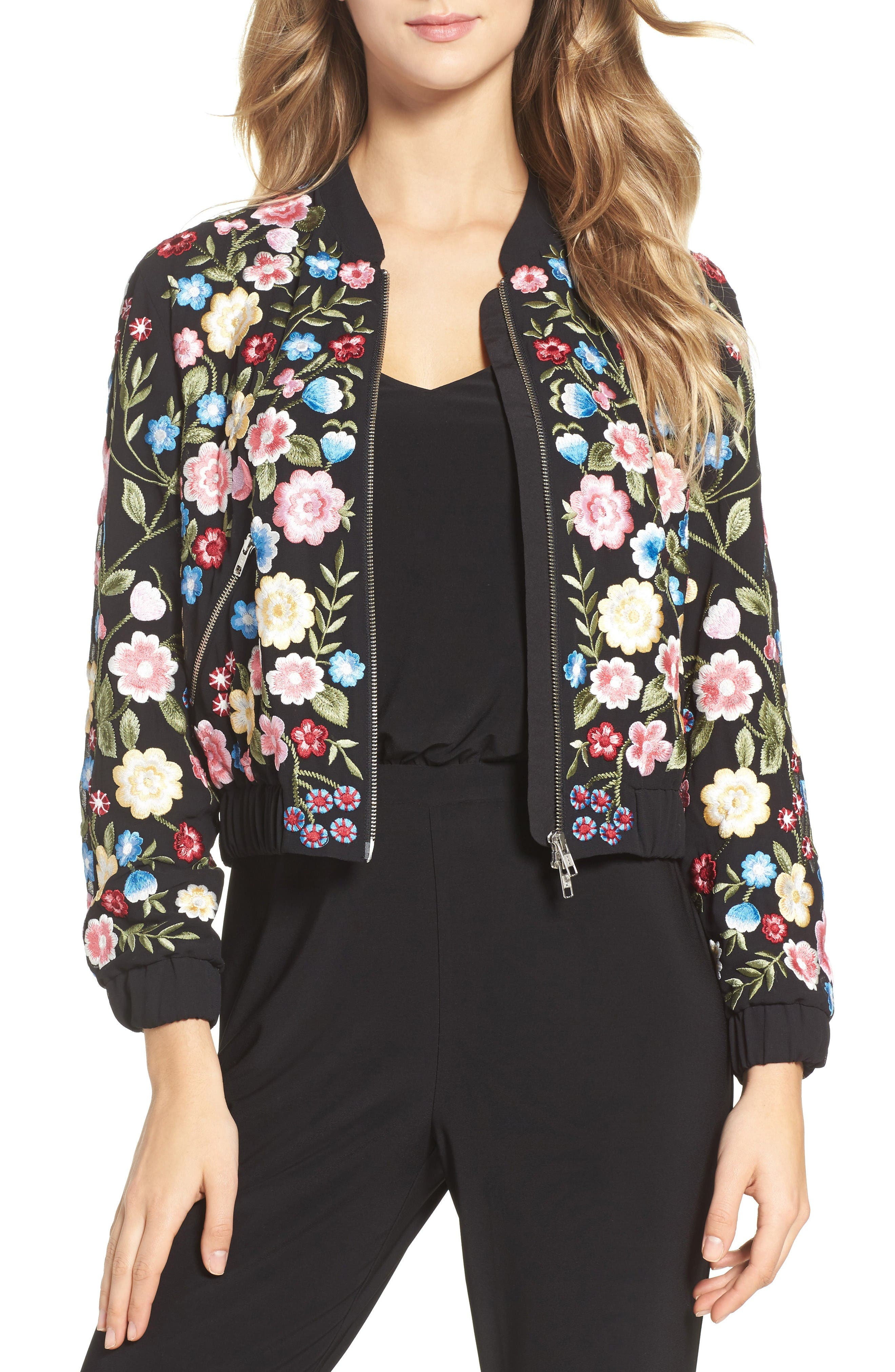 Flower Foliage Embroidered Bomber Jacket,                             Main thumbnail 1, color,                             Black