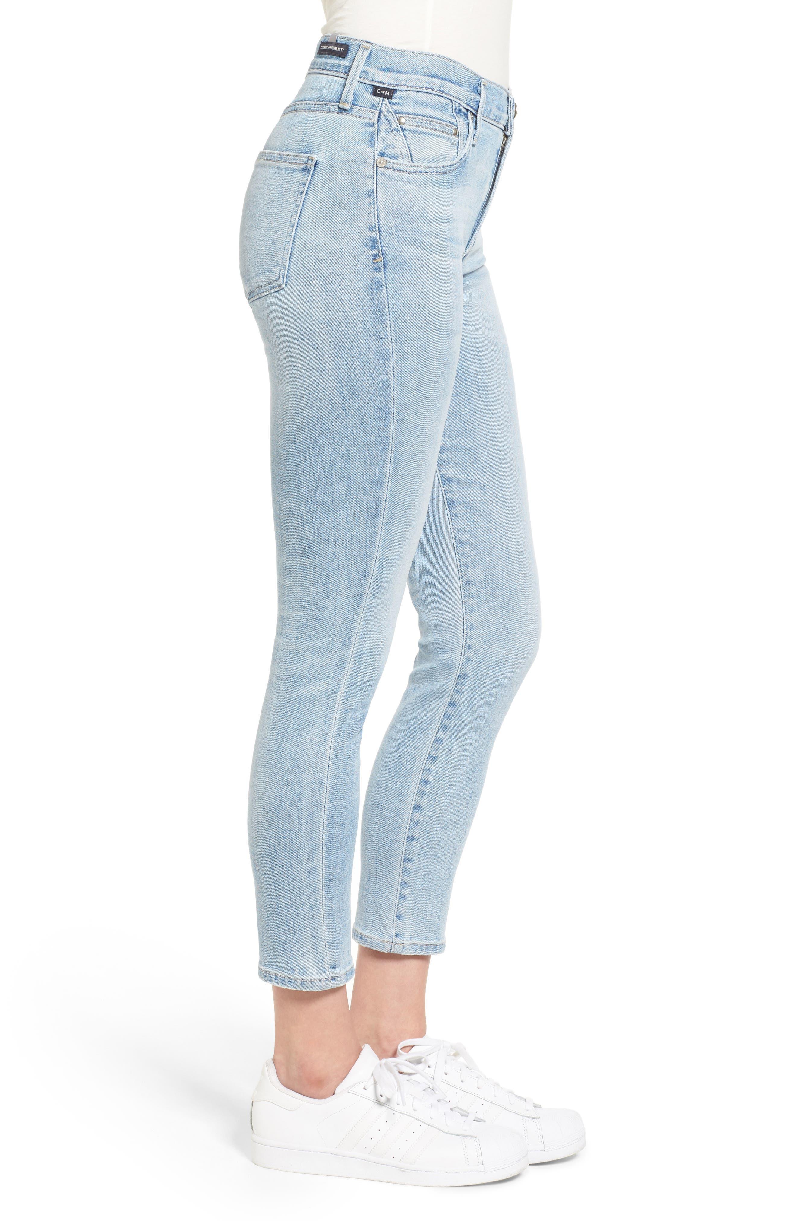 Rocket High Waist Crop Skinny Jeans,                             Alternate thumbnail 3, color,                             Oracle Blue