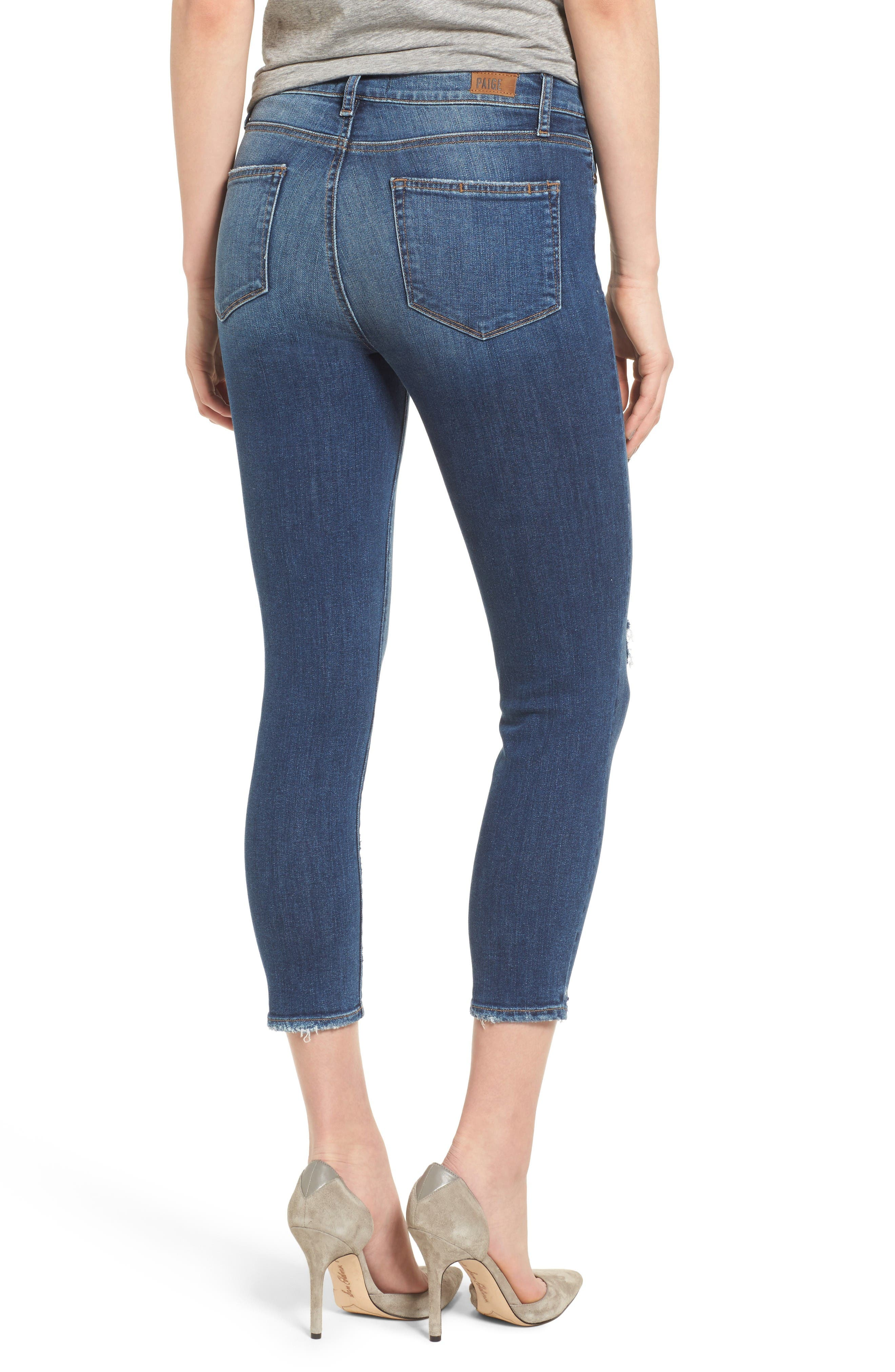 Transcend - Hoxton High Waist Crop Skinny Jeans,                             Alternate thumbnail 2, color,                             Nora Destructed