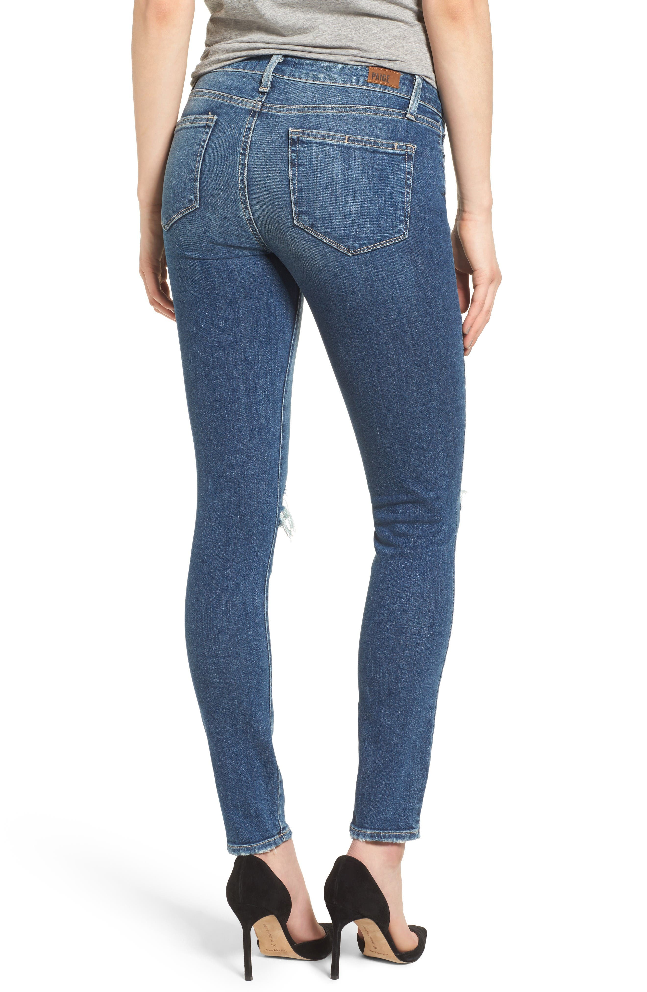 Alternate Image 2  - PAIGE Verdugo Ripped Ultra Skinny Jeans (Destructed Blue)
