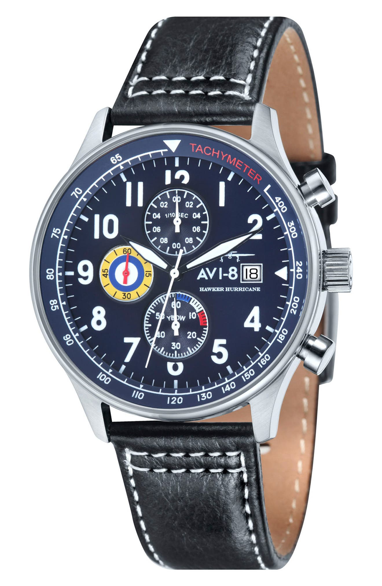 Hawker Hurricane Chronograph Leather Strap Watch, 42mm,                         Main,                         color, Navy/ Black