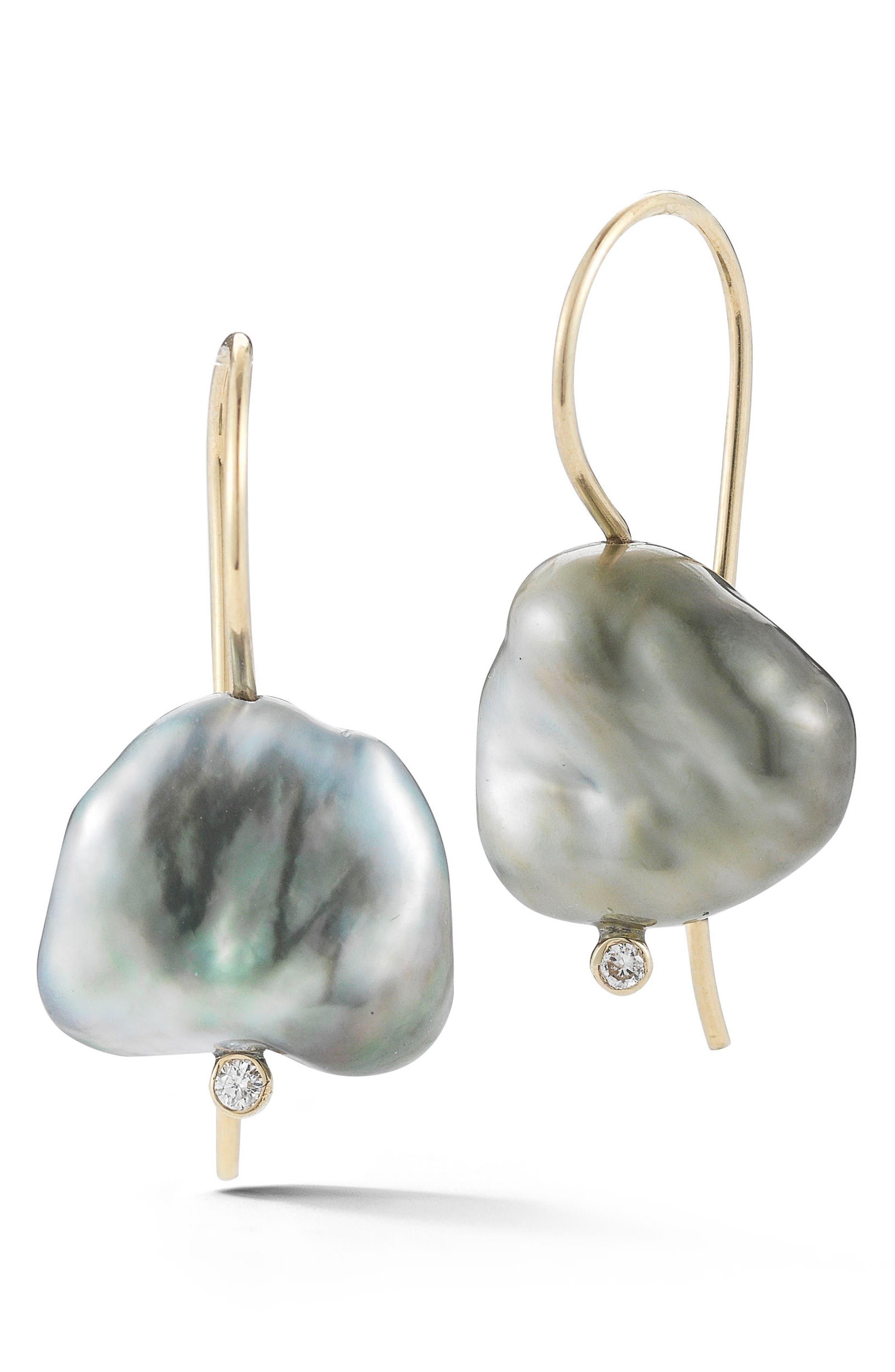 Mizuki Pearl & Diamond Drop Earrings