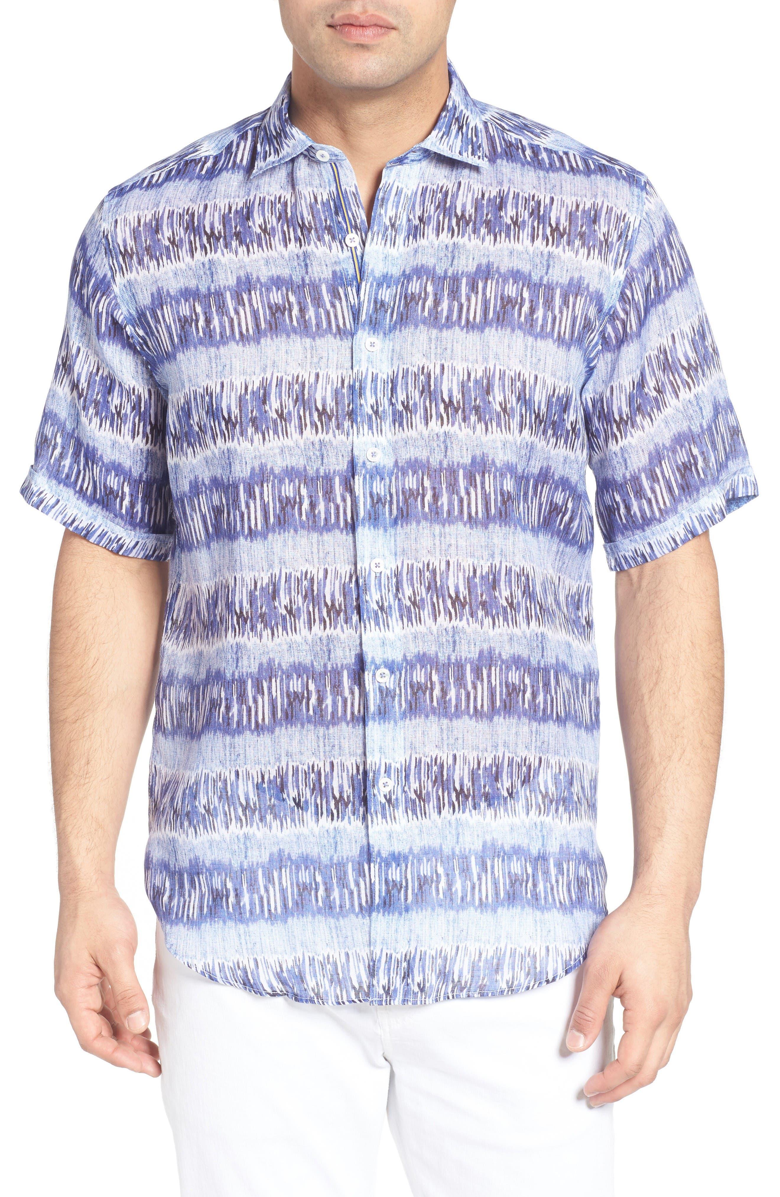 Shaped Fit Print Linen Sport Shirt,                         Main,                         color, Classic Blue