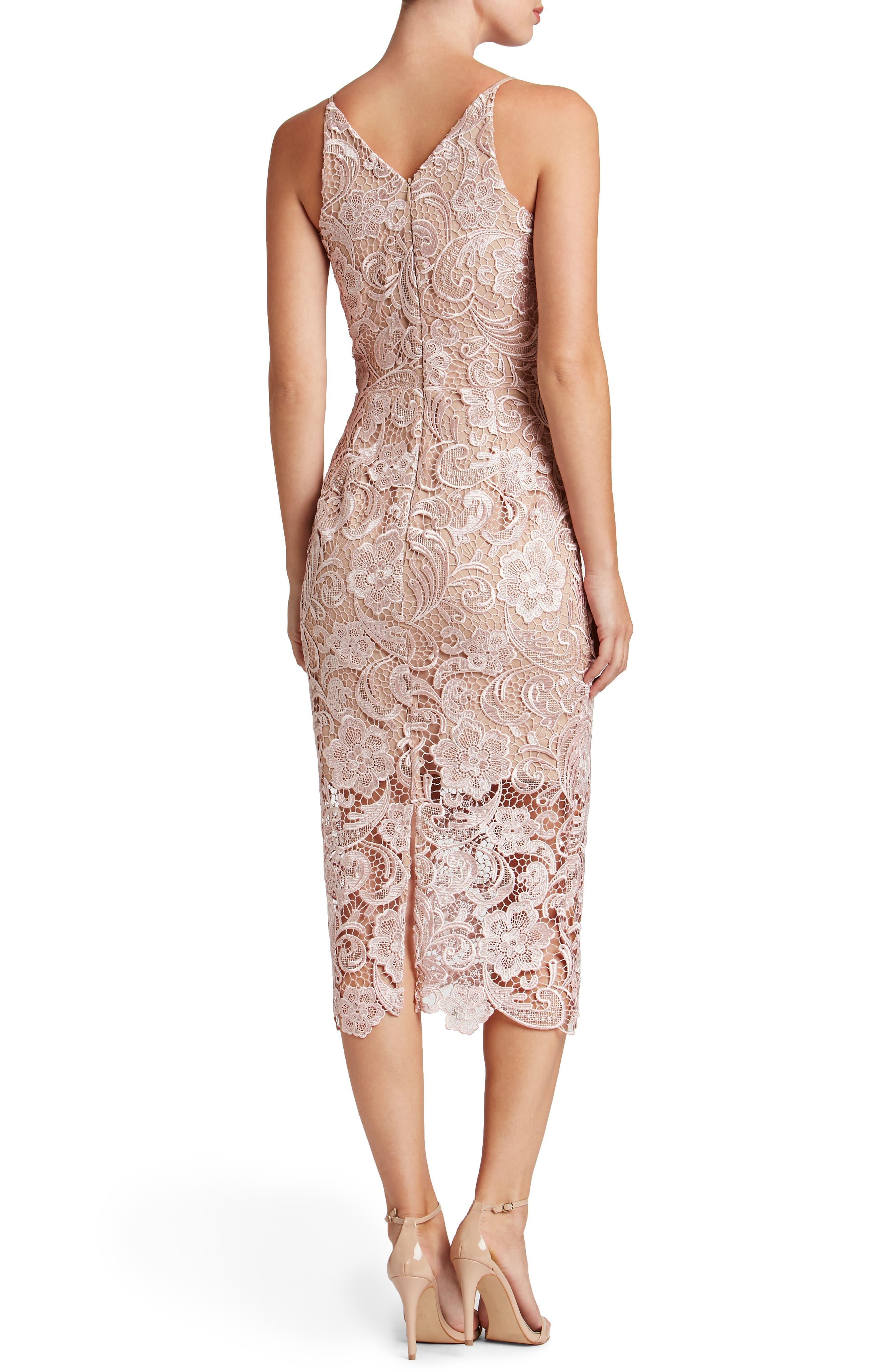 'Marie' Lace Midi Dress,                             Alternate thumbnail 2, color,                             Rose