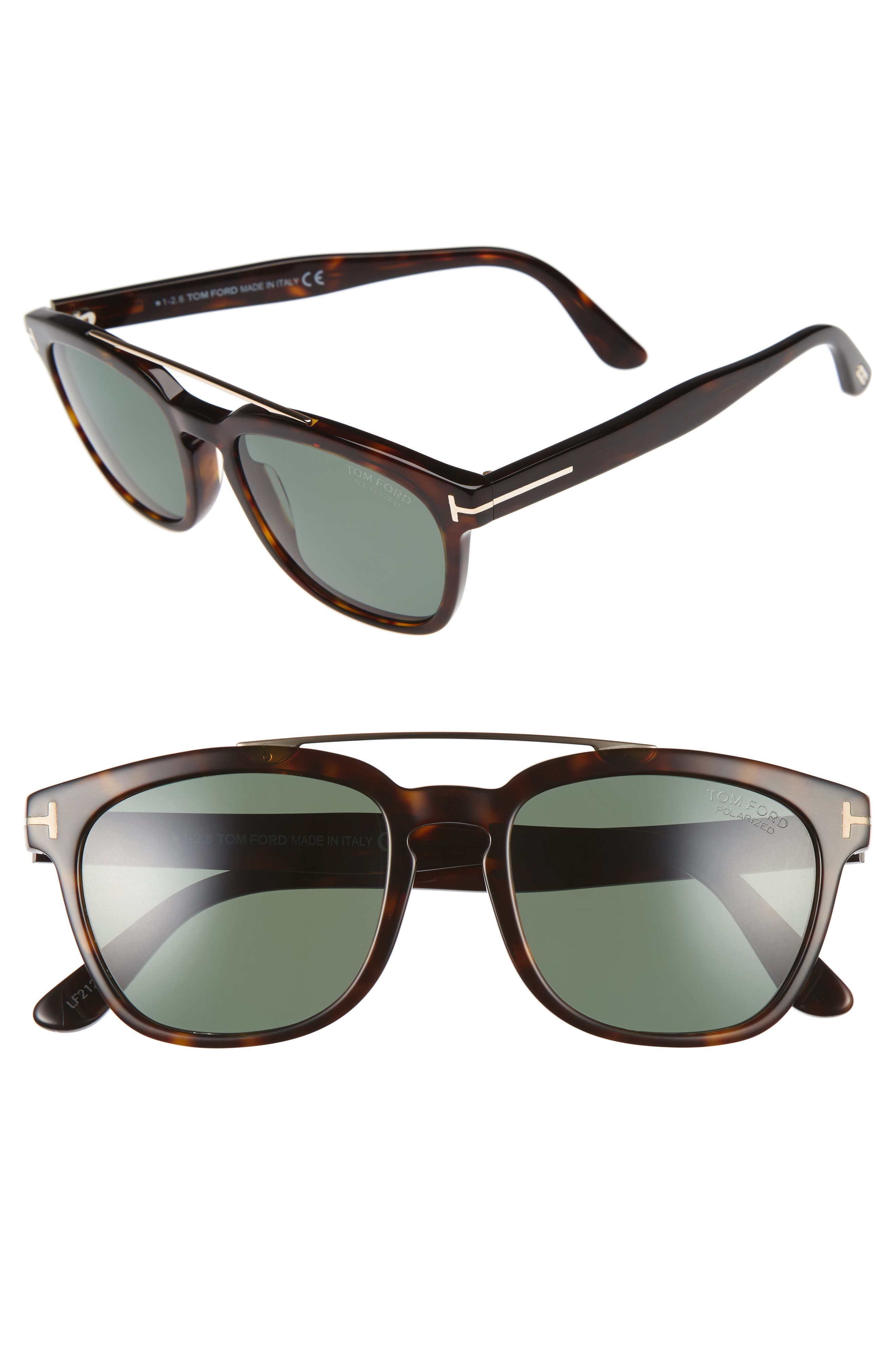 Holt 54mm Polarized Sunglasses,                         Main,                         color, Dark Havana/ Green