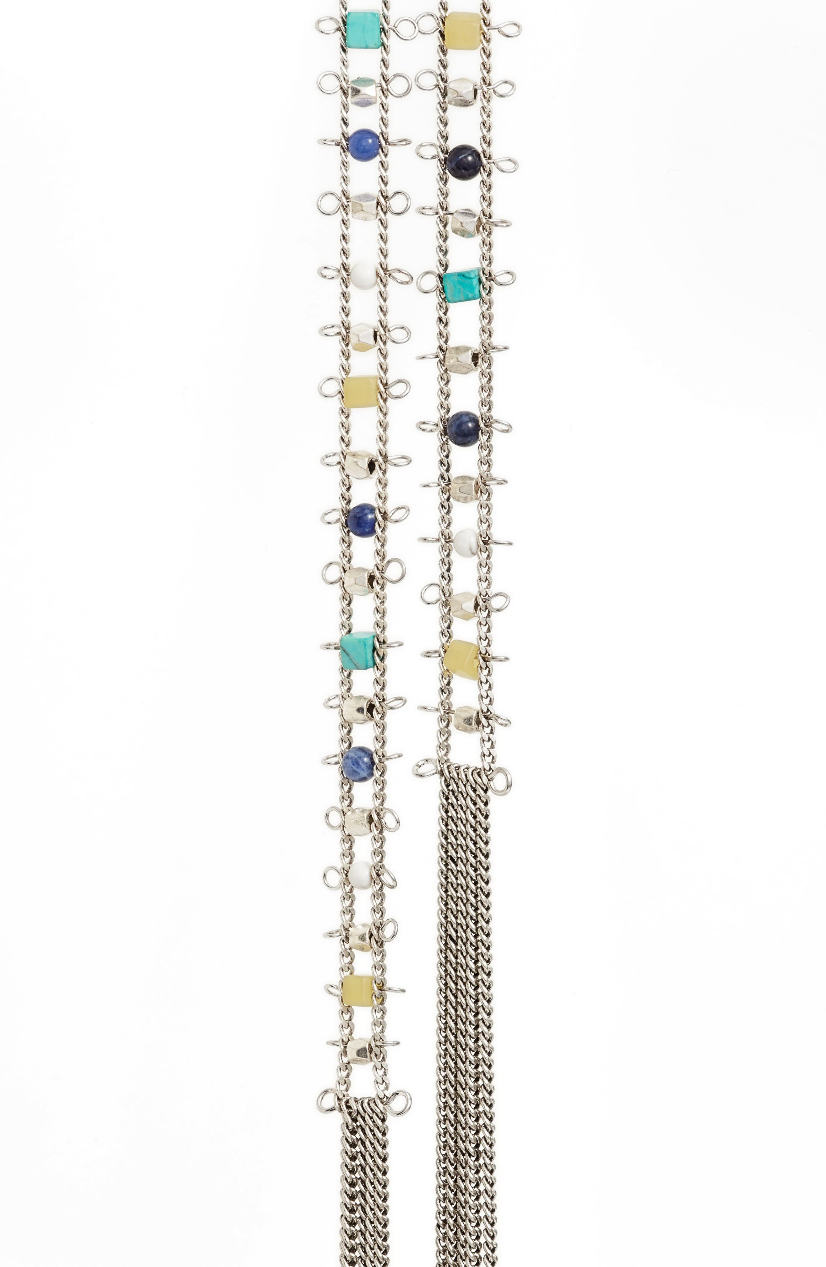 Stone Ladder Lariat Necklace,                             Alternate thumbnail 2, color,                             Turquoise Multi- Rhodium