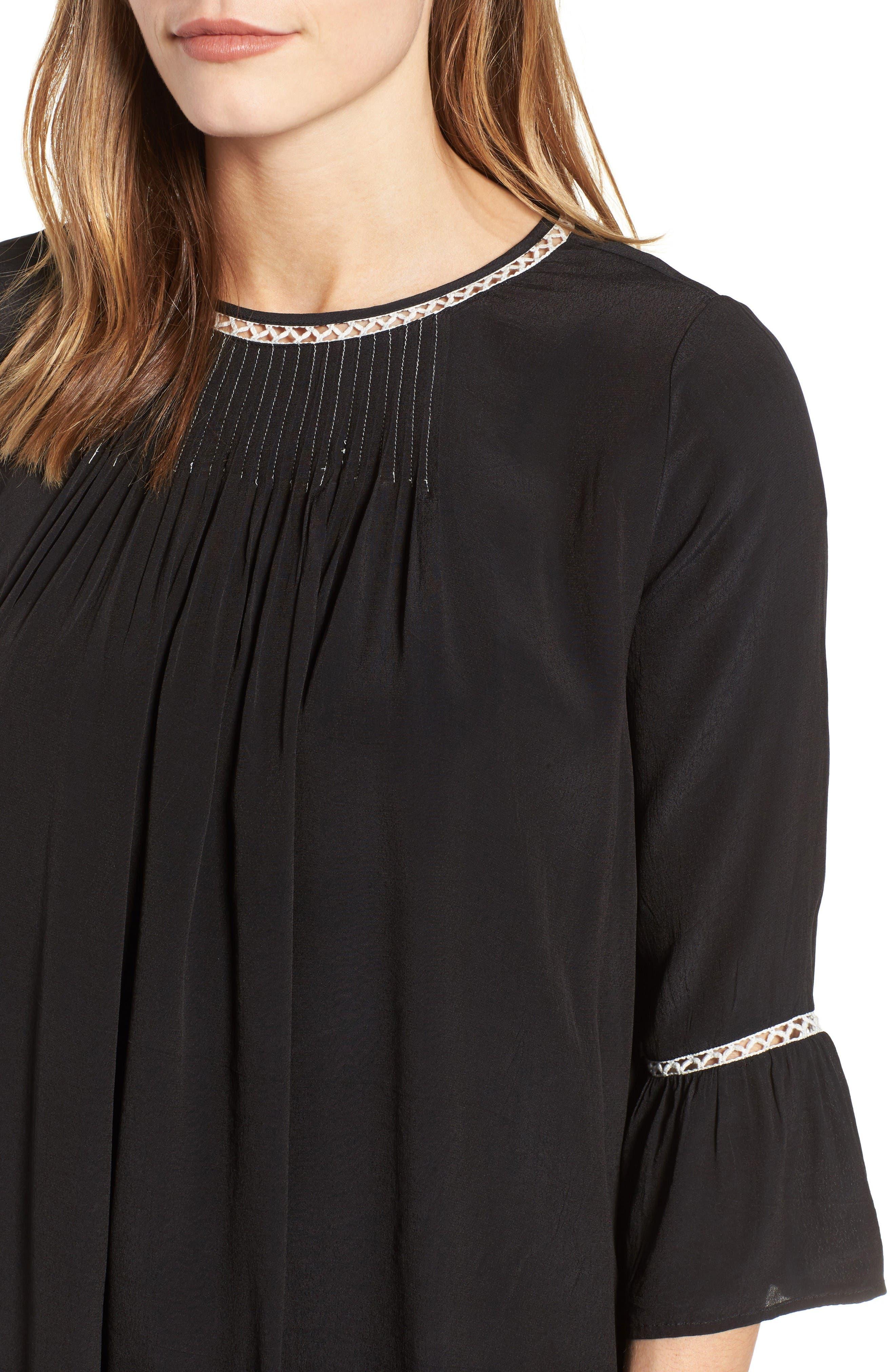 Pintuck Pleat Lantern Sleeve Babydoll Dress,                             Alternate thumbnail 4, color,                             Vintage Black