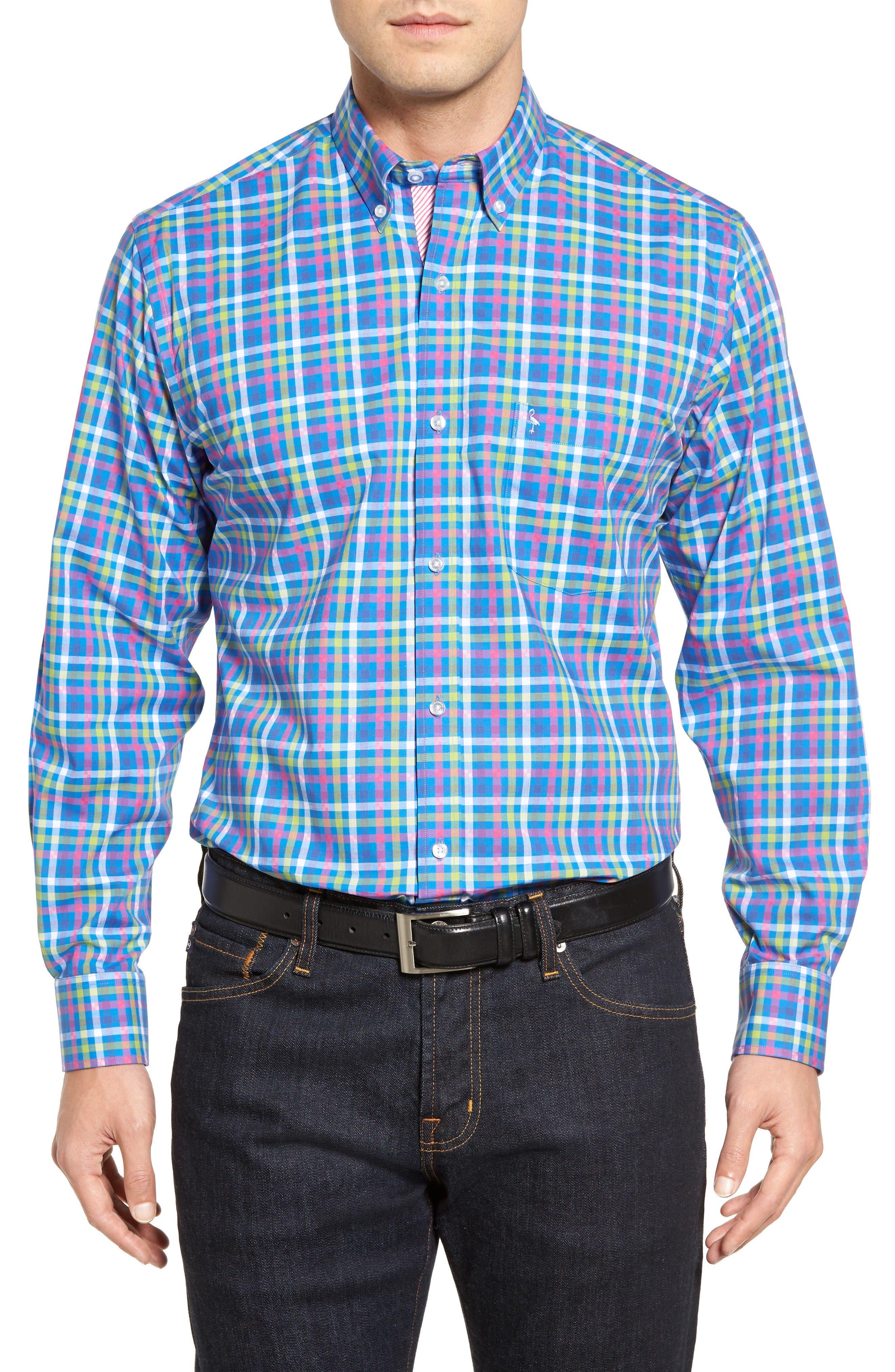 Plum Check Sport Shirt,                         Main,                         color, Royal