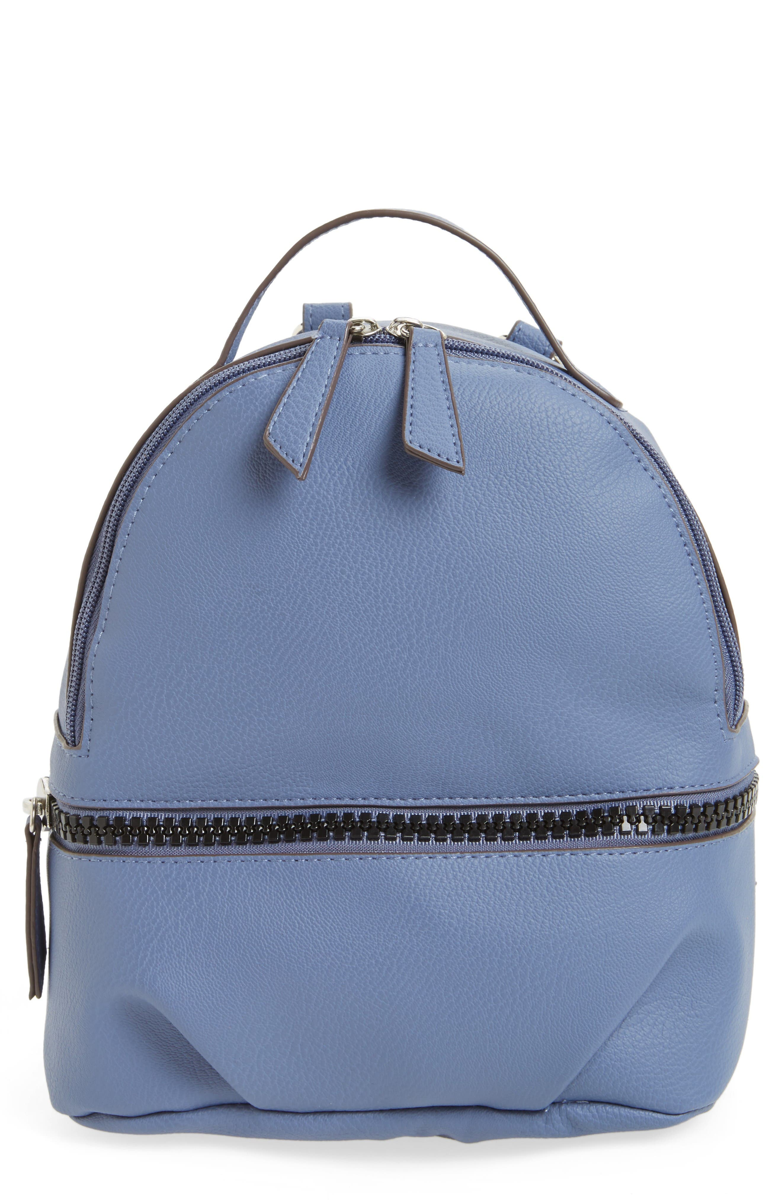 Textured Faux Leather Mini Backpack,                         Main,                         color, Blue