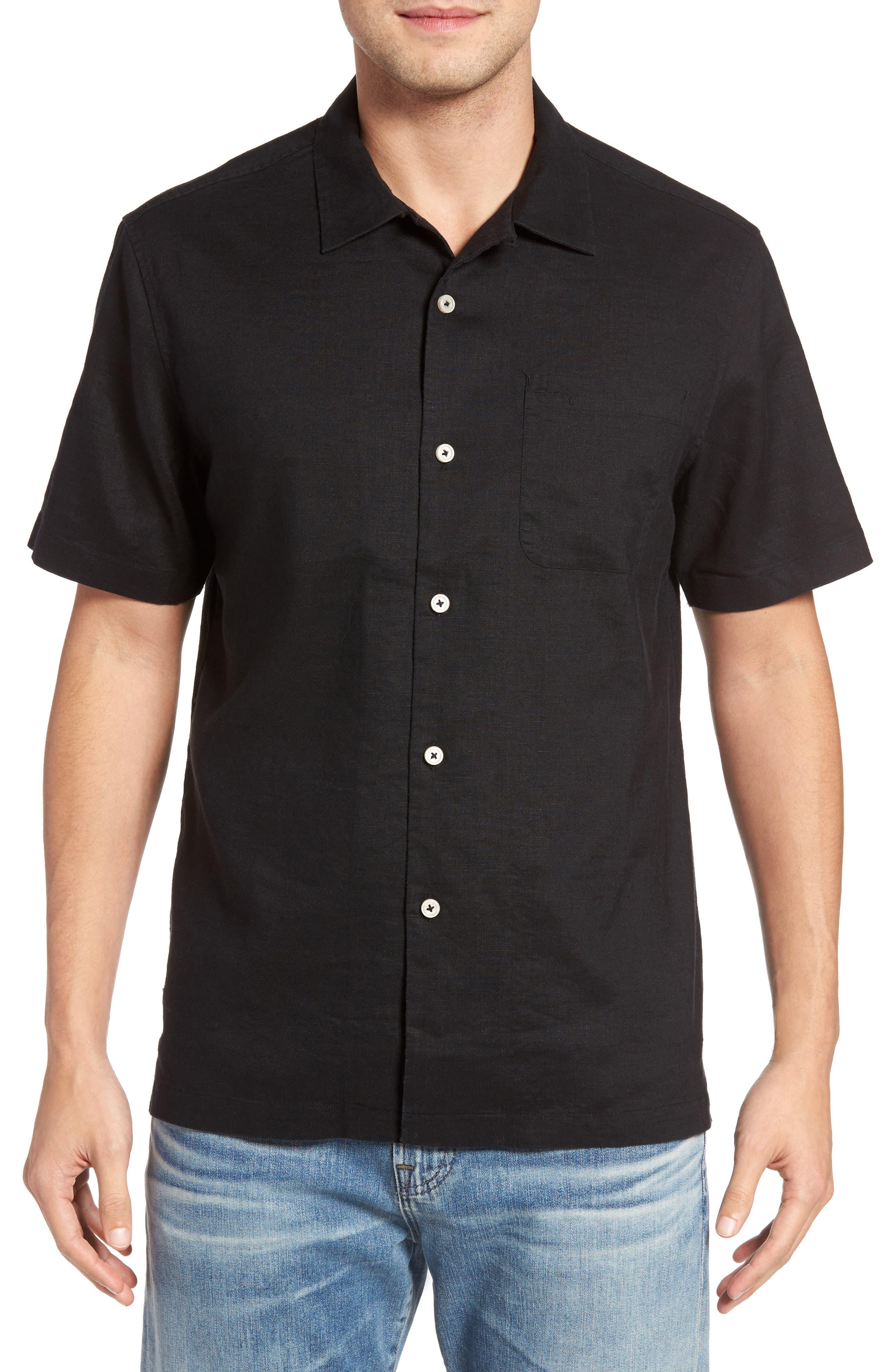 Monaco Tides Linen Blend Camp Shirt,                         Main,                         color, Black