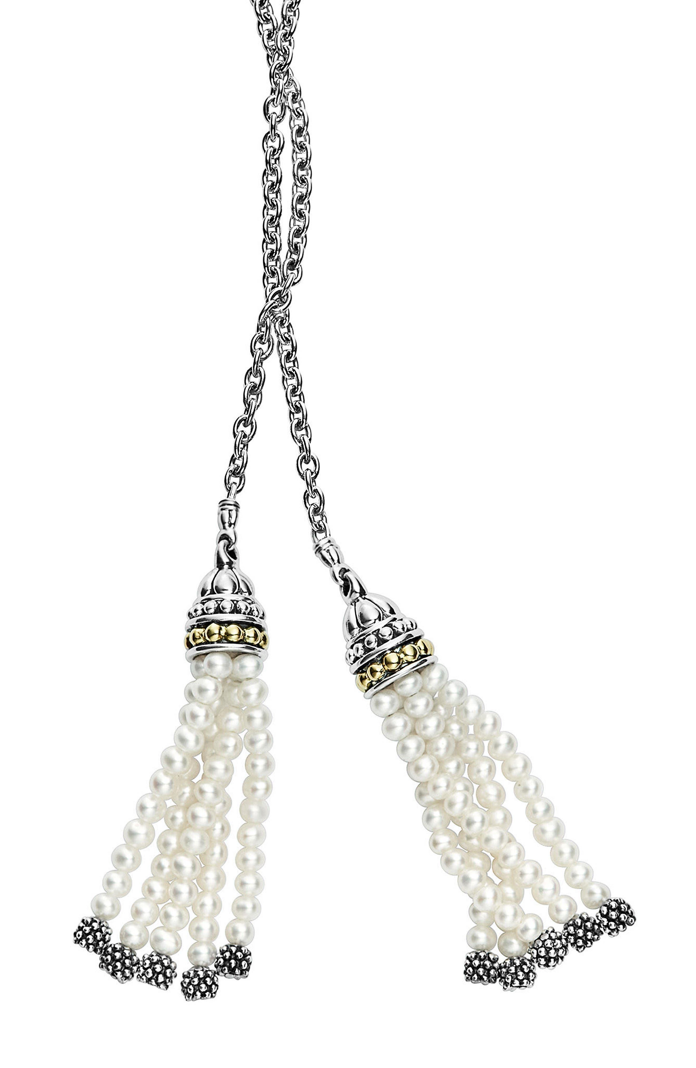 Luna Pearl Tassel Lariat Necklace,                             Main thumbnail 1, color,                             Silver/ Pearl