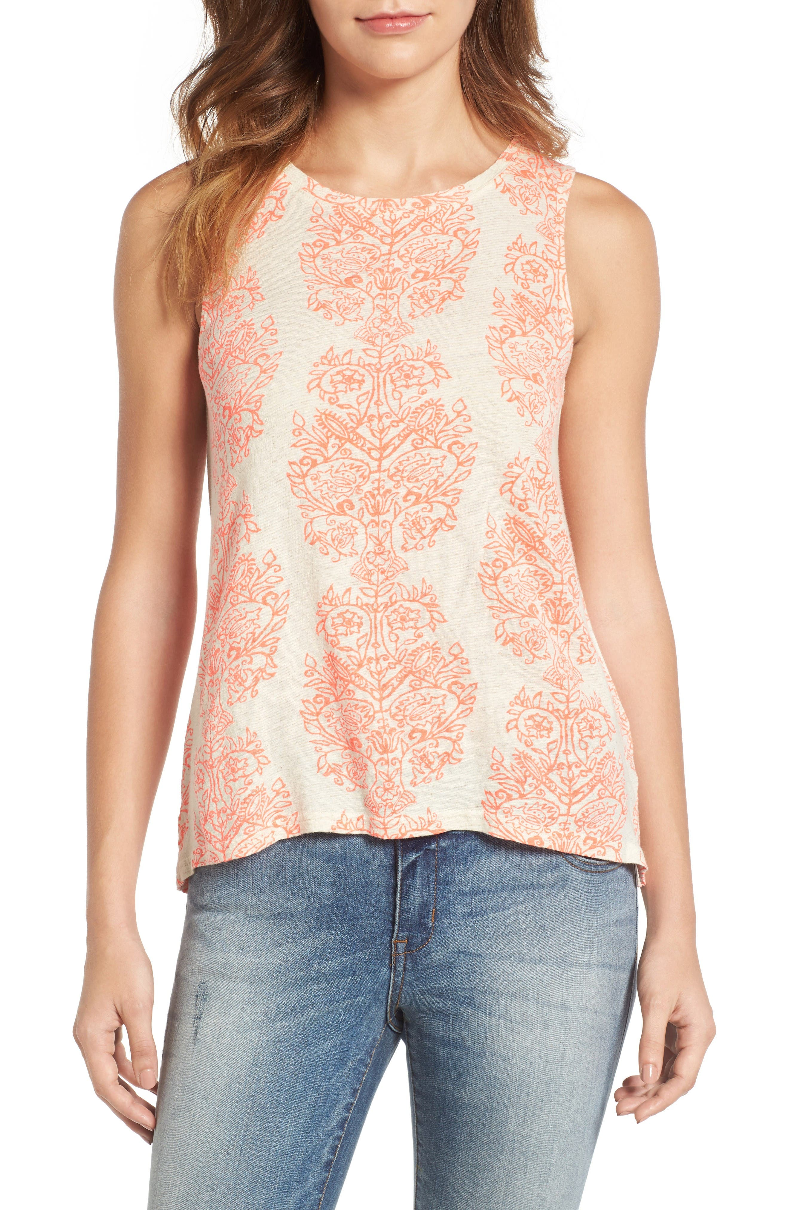 Alternate Image 1 Selected - Lucky Brand Woodblock Print Tank