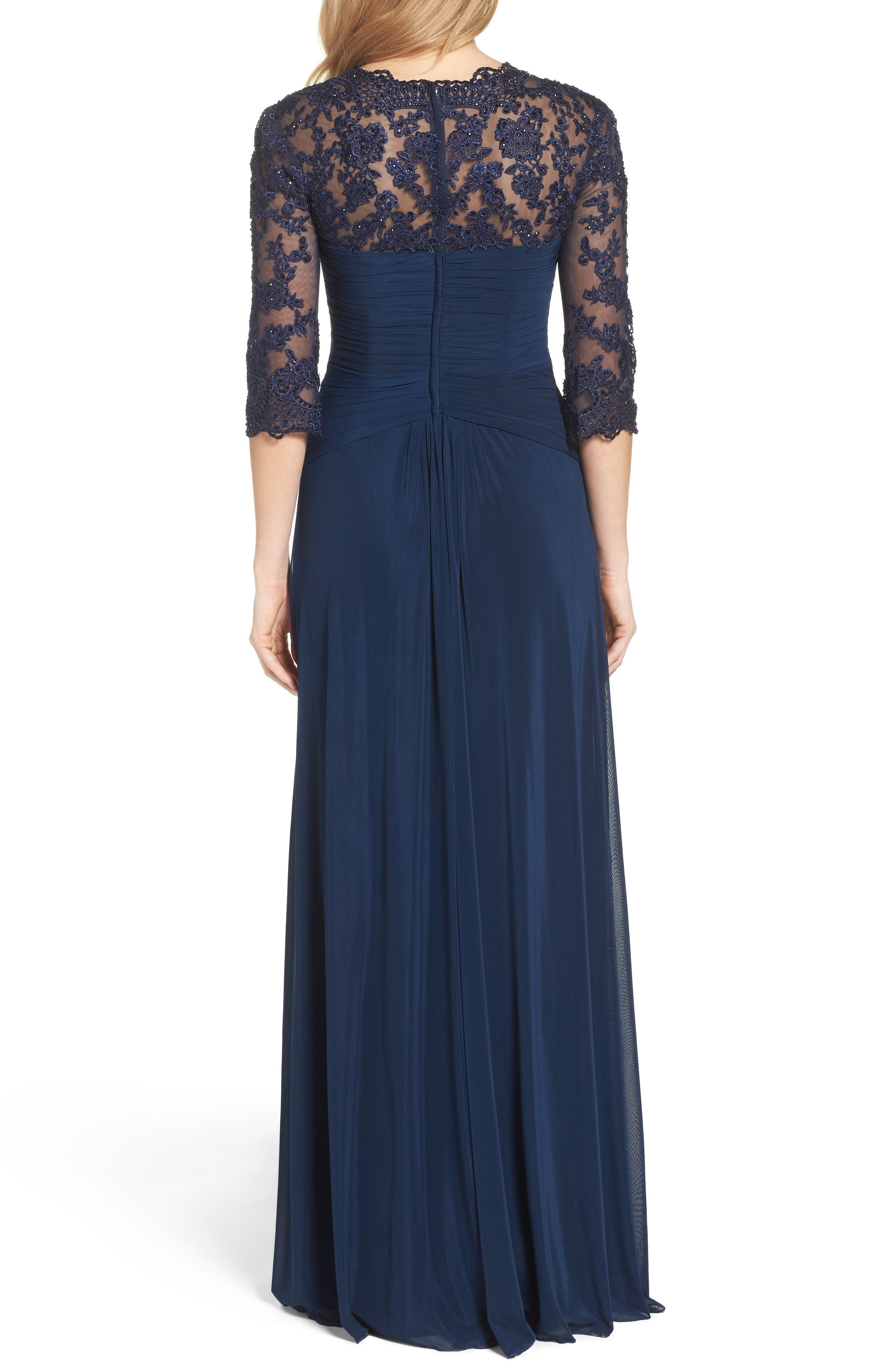 Lace & Net Ruched Twist Front Gown,                             Alternate thumbnail 2, color,                             Navy