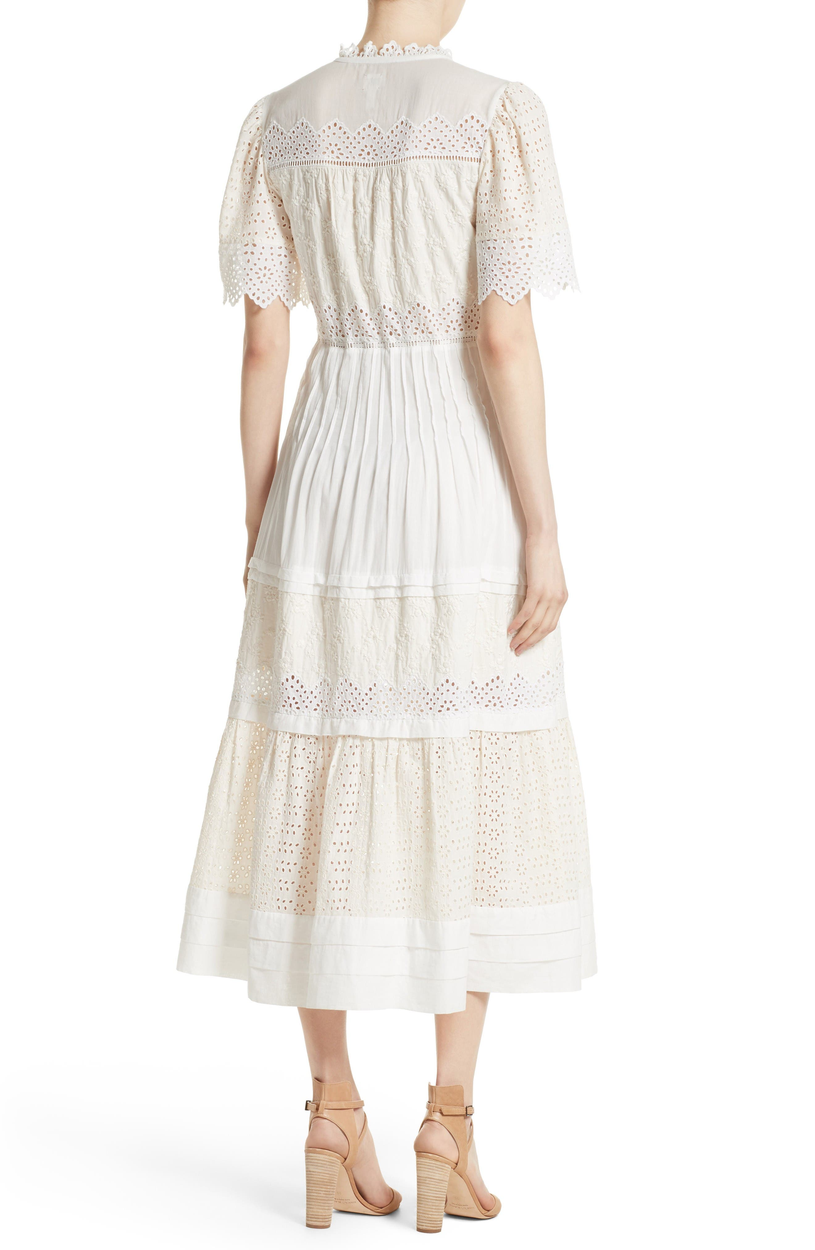 Alternate Image 3  - La Vie Rebecca Taylor Embroidered Voile Midi Dress