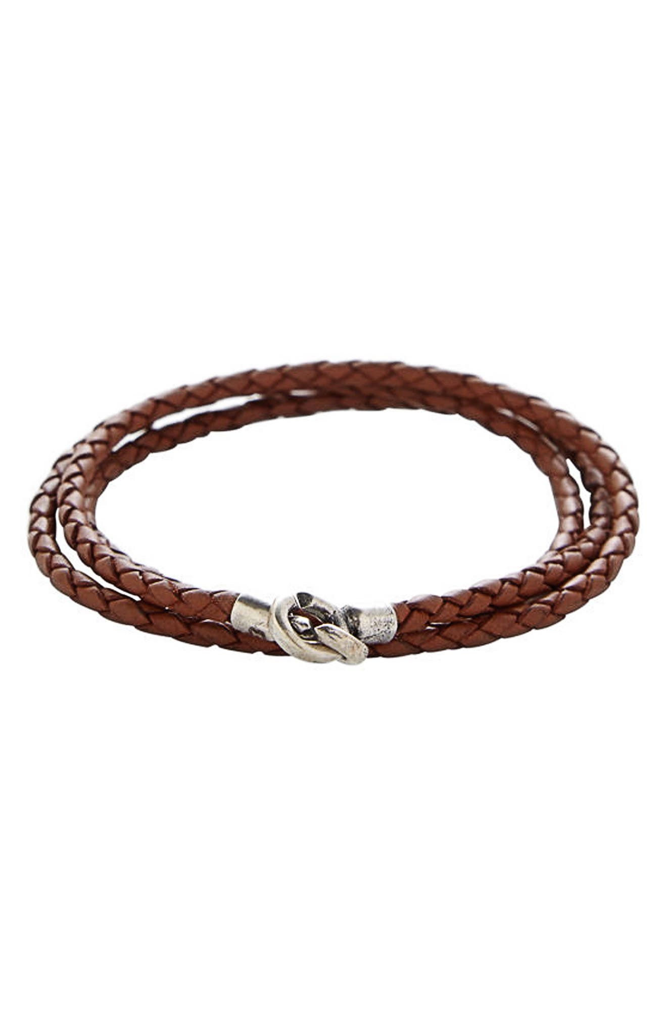 Leather Wrap Bracelet,                         Main,                         color, Saddle