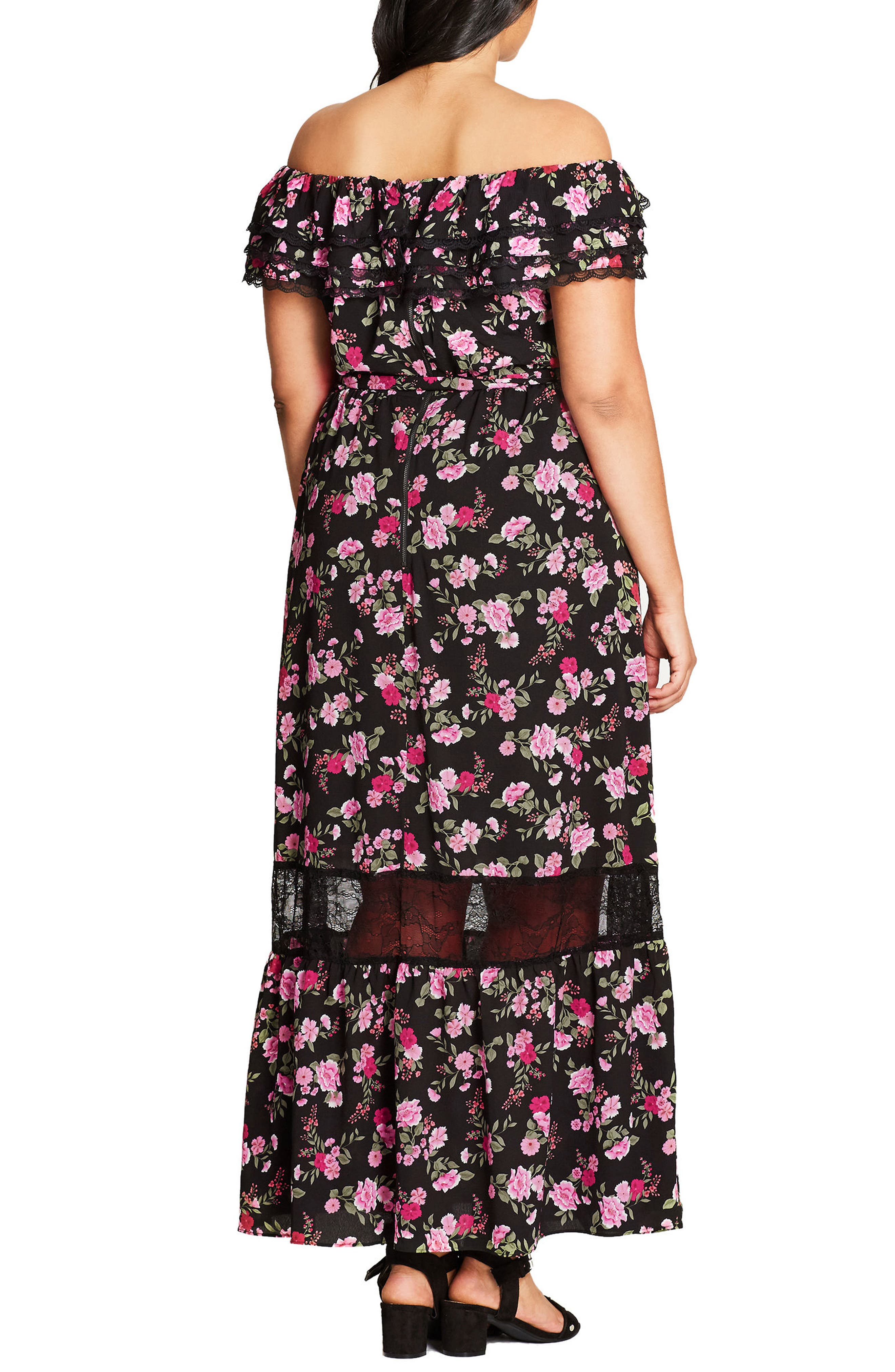 Alternate Image 2  - City Chic Free Love Floral Off the Shoulder Maxi Dress (Plus Size)