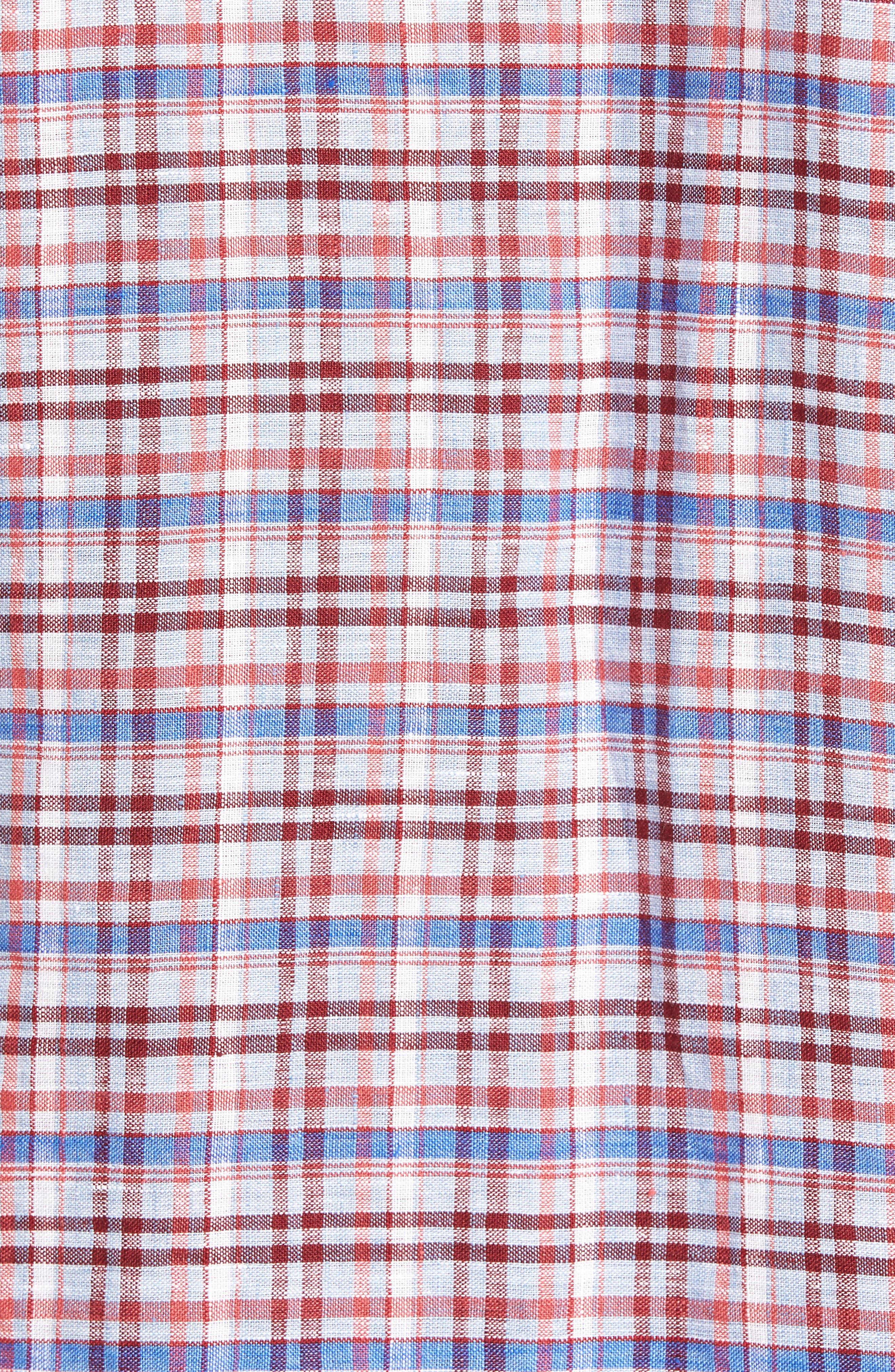 Alternate Image 5  - Zachary Prell Bean Trim Fit Plaid Linen Sport Shirt