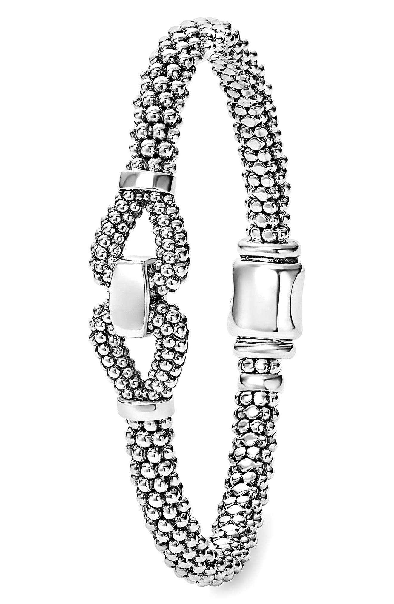 Derby Caviar Bracelet,                             Alternate thumbnail 3, color,                             Silver