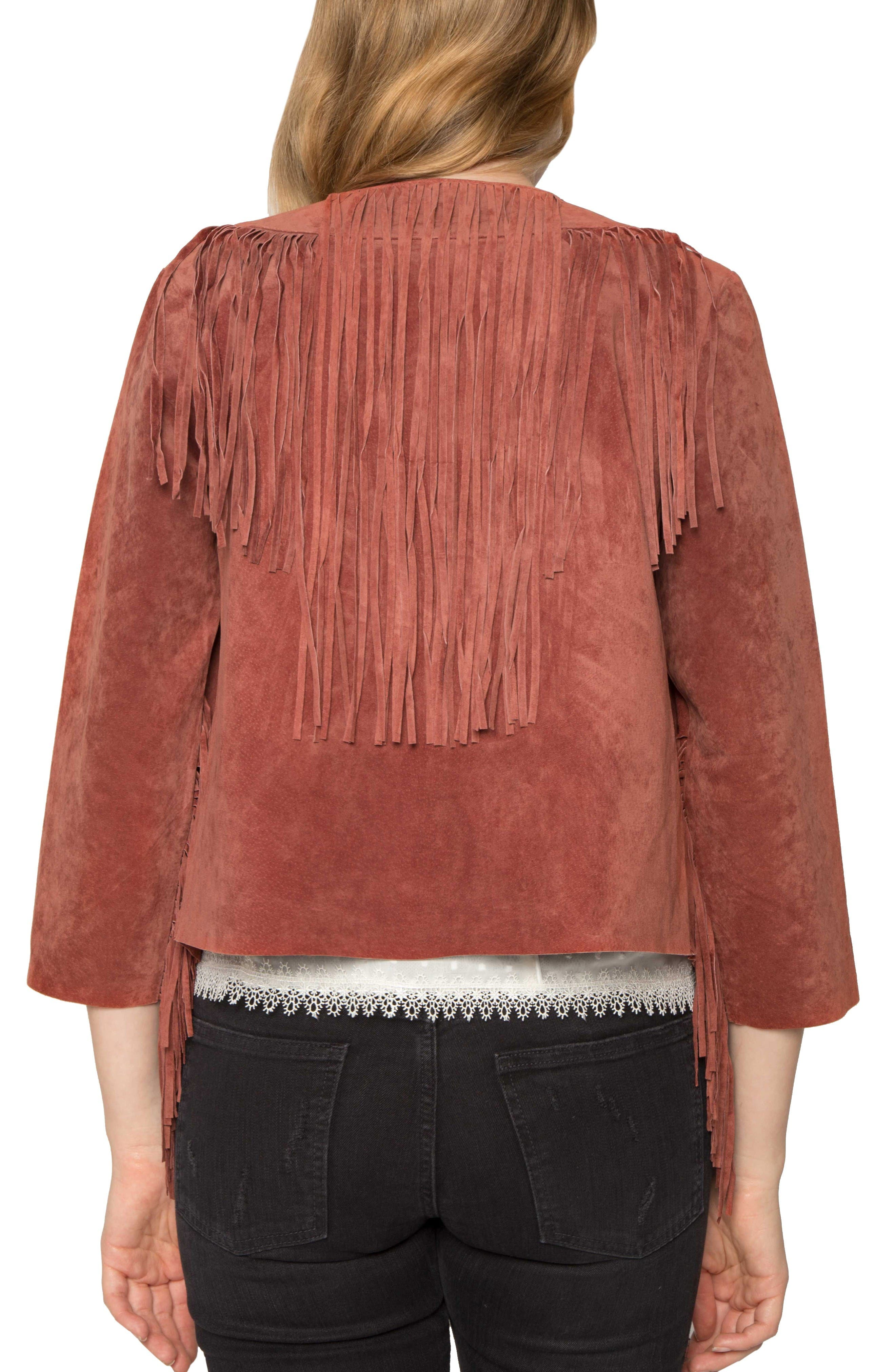 Alternate Image 2  - Willow & Clay Crop Fringe Suede Jacket