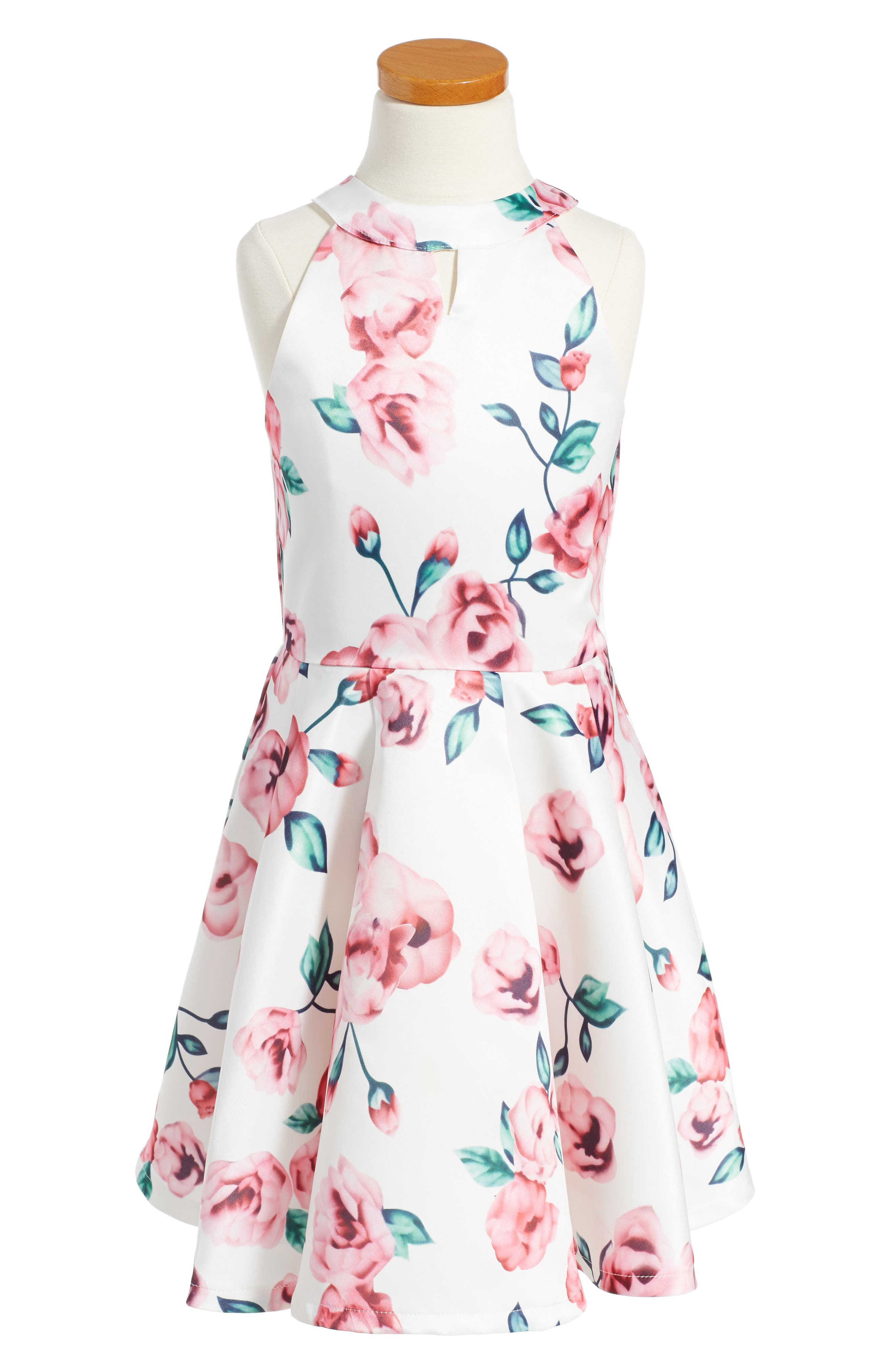 Floral Fit & Flare Dress,                         Main,                         color, White/ Pink