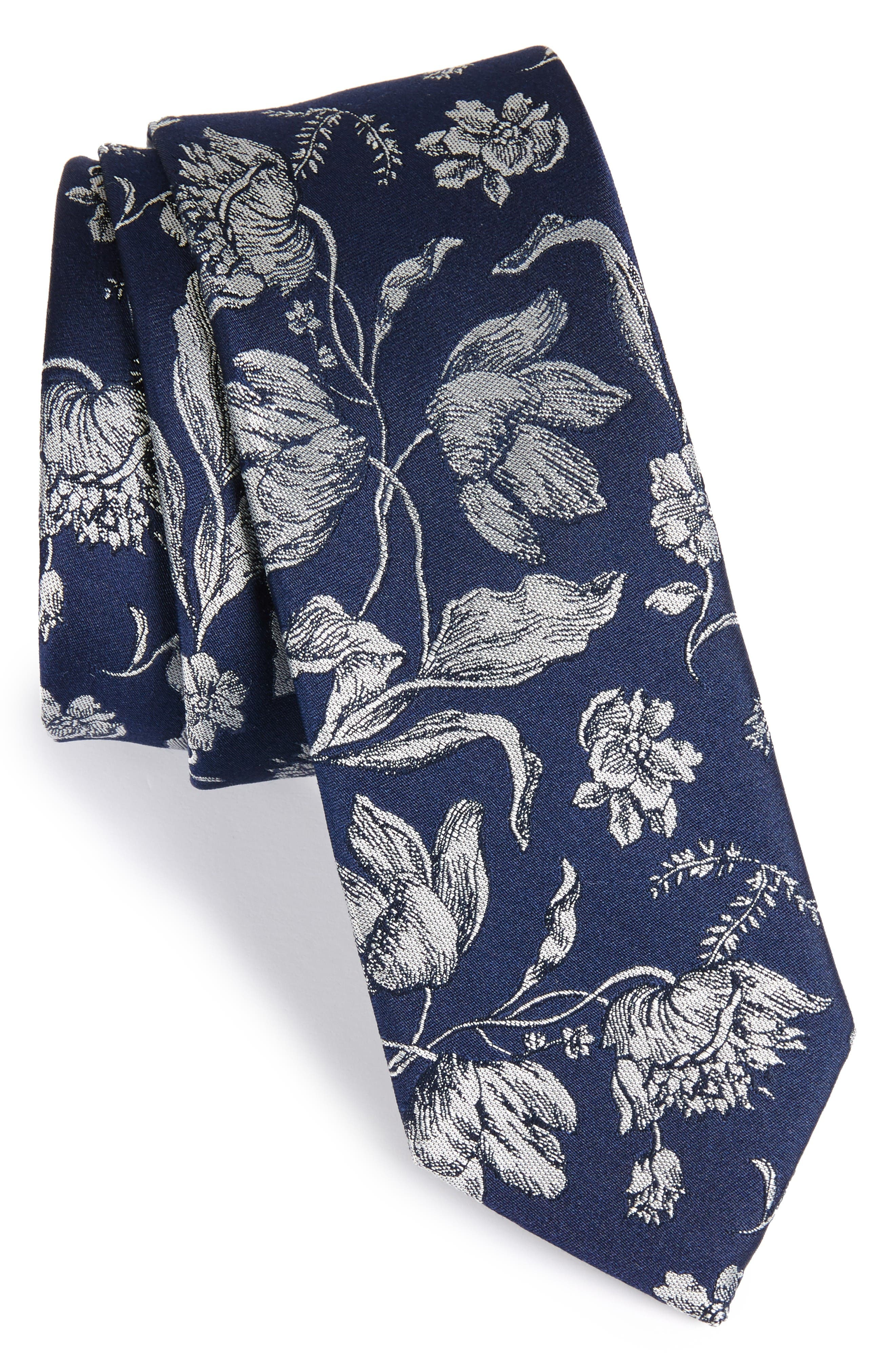 Floral Swell Silk Skinny Tie,                             Main thumbnail 1, color,                             Navy
