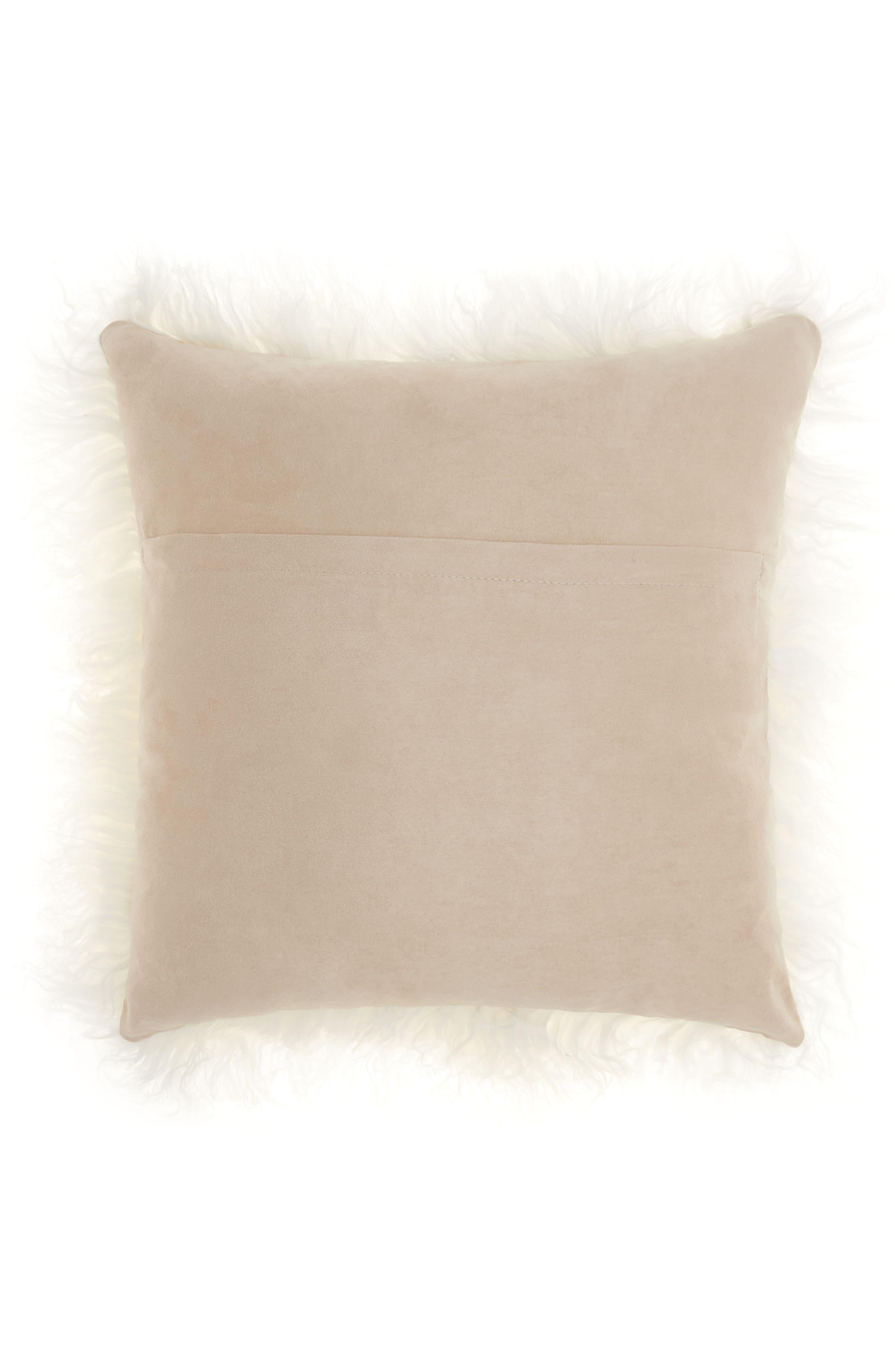Genuine Tibetan Wool Shearling Pillow,                             Alternate thumbnail 2, color,                             Beige