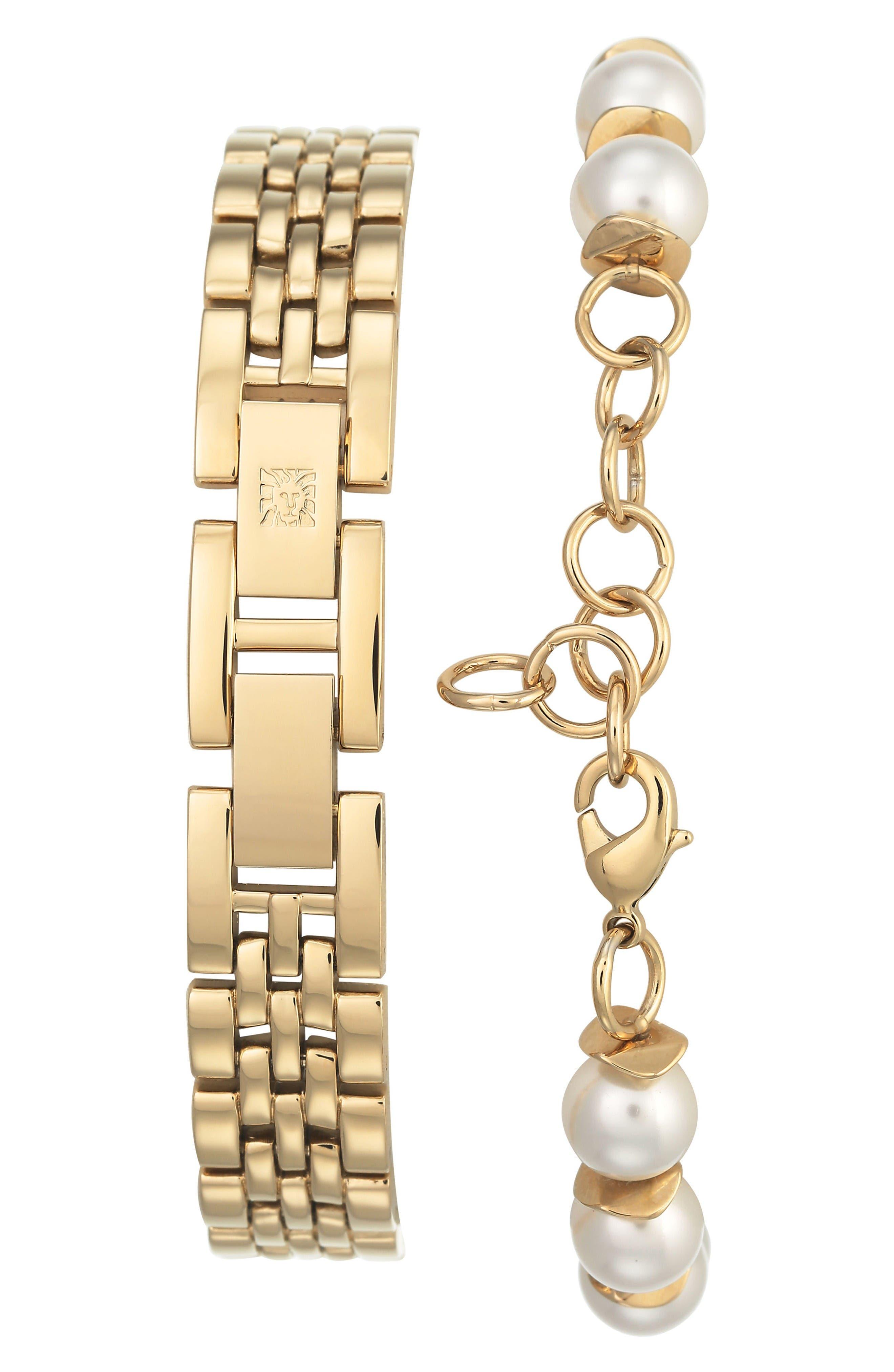 Crystal Watch & Tassel Bracelet Set,                             Alternate thumbnail 2, color,                             Gold