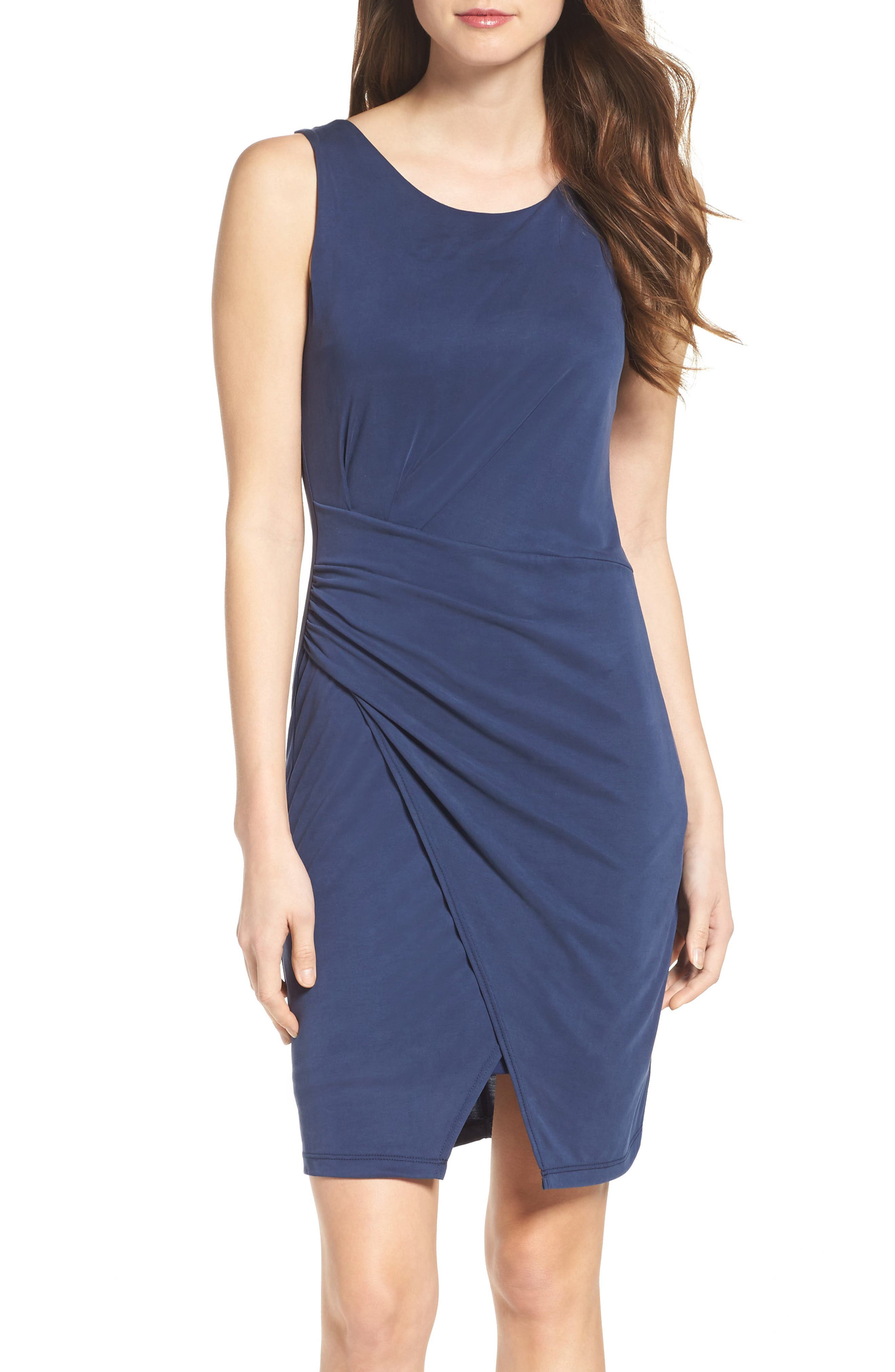 Pleated Body-Con Dress,                             Alternate thumbnail 4, color,                             Navy