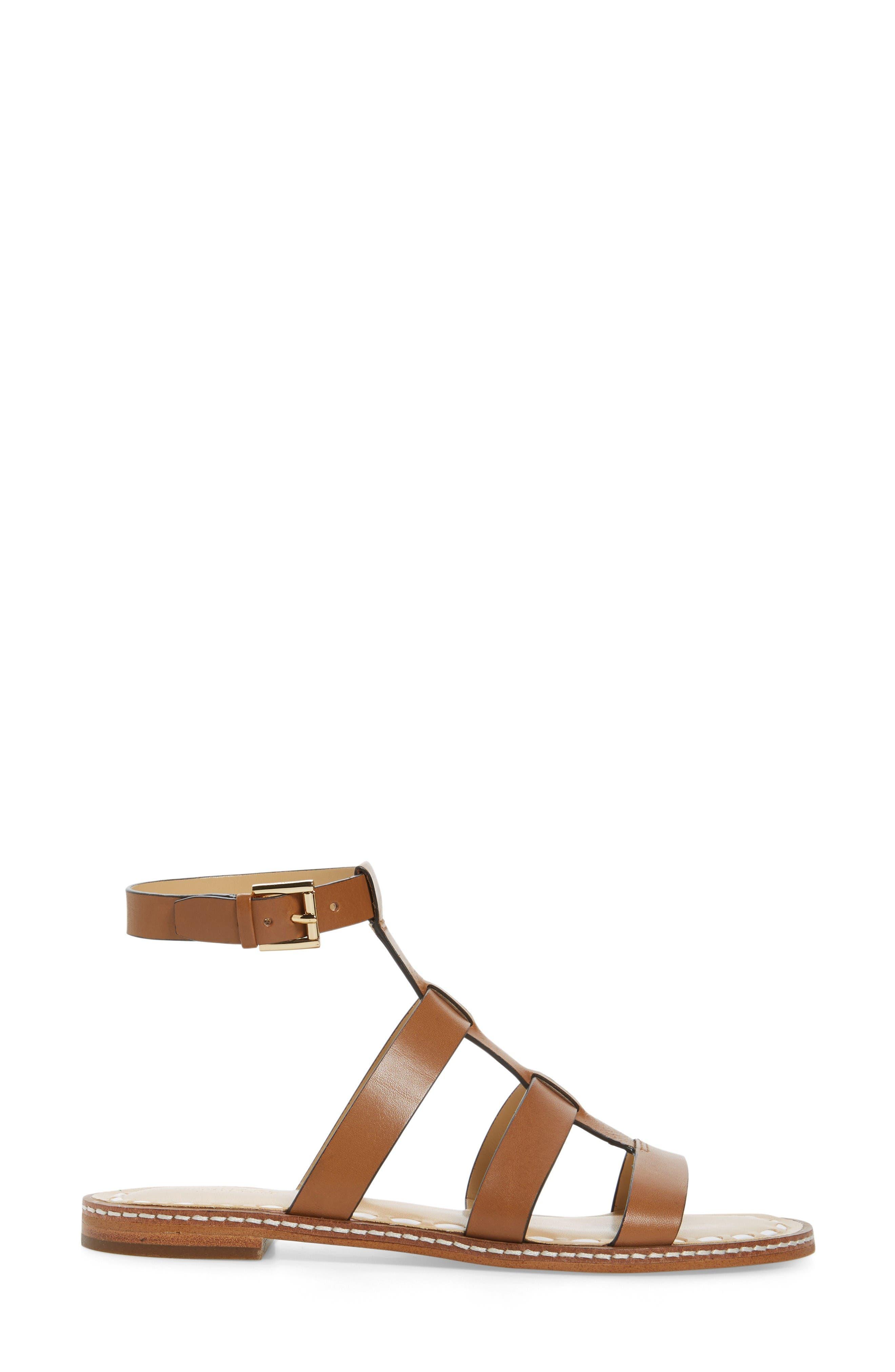 Fallon Gladiator Sandal,                             Alternate thumbnail 3, color,                             Acorn/ White Leather