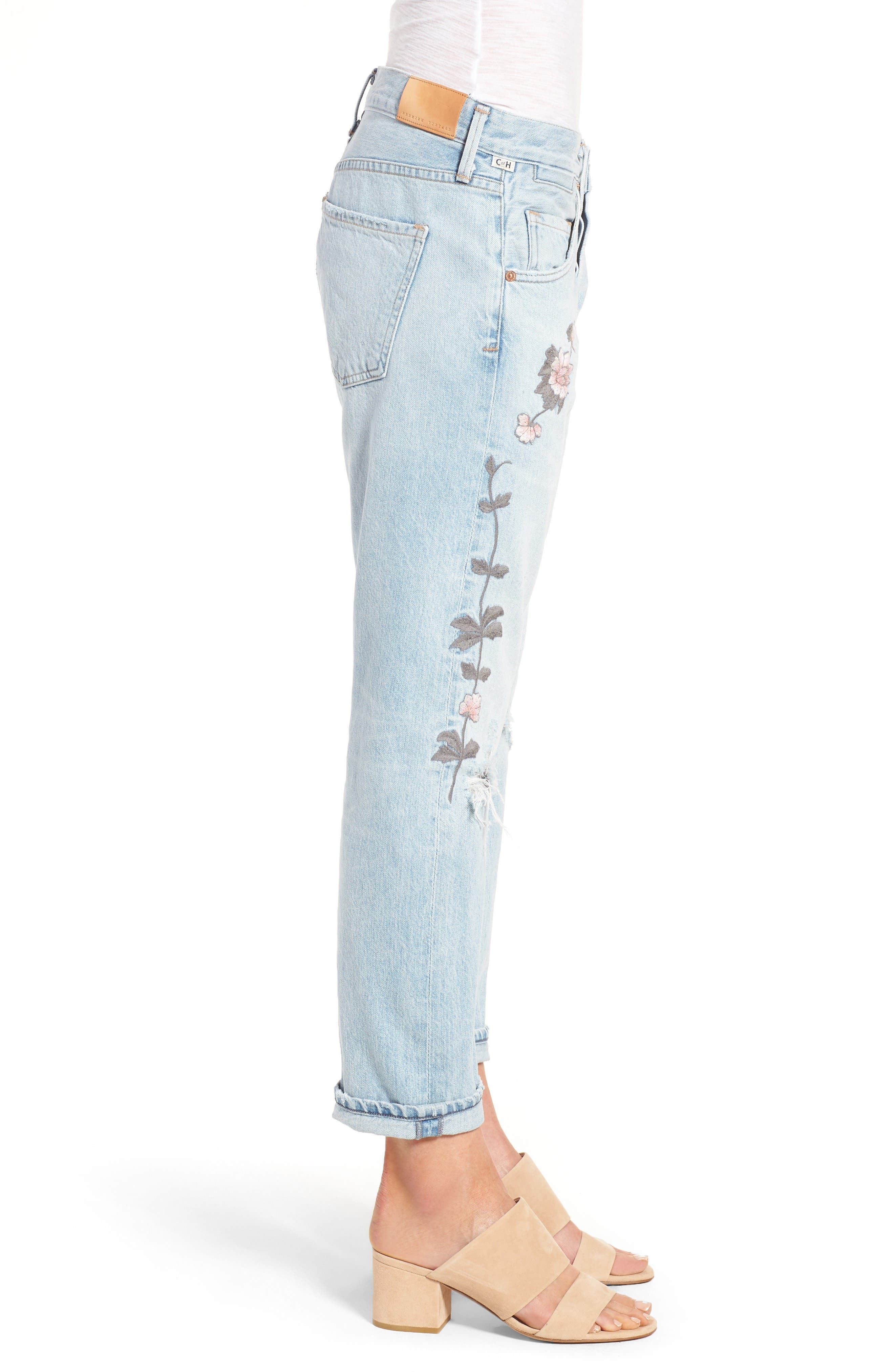 Alternate Image 4  - Citizens of Humanity Emerson Slim Boyfriend Jeans (Distressed Rock on Roses)