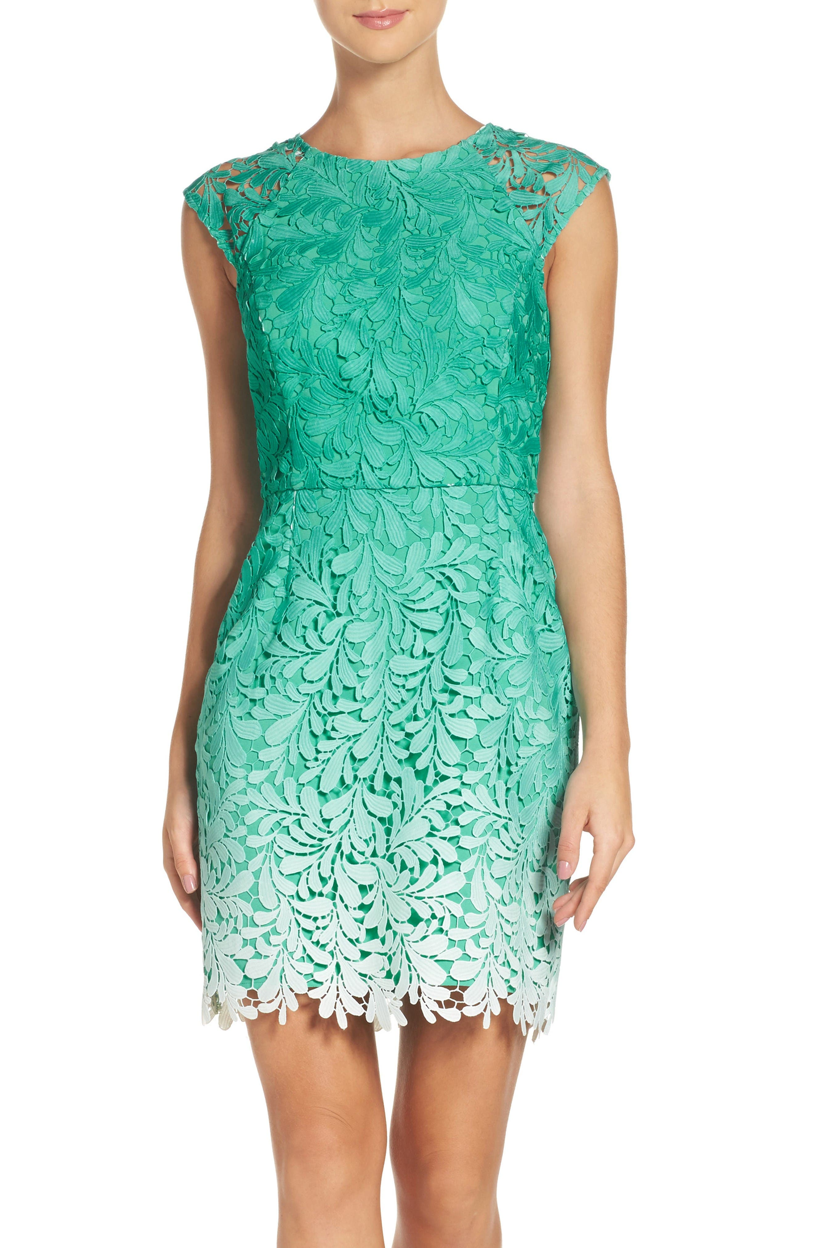 Ombré Lace Sheath Dress,                             Alternate thumbnail 4, color,                             Seafoam