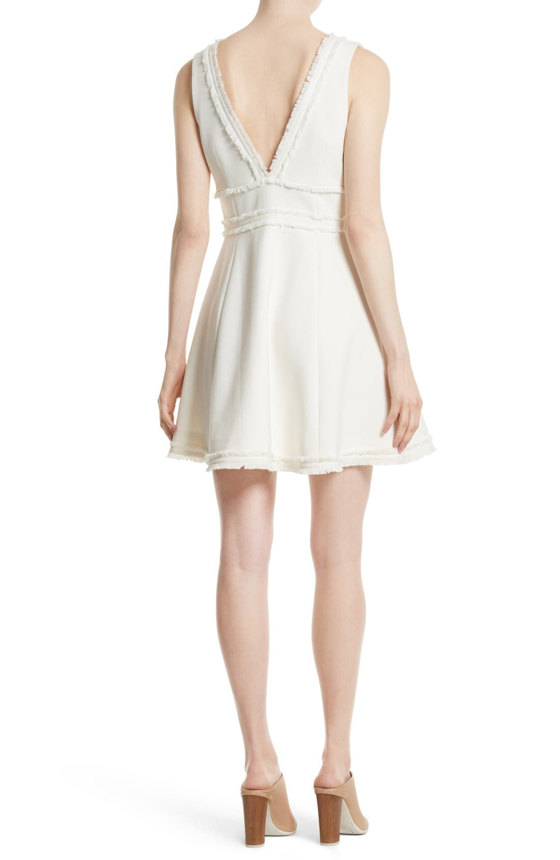 Aurora Fringe Trim Fit & Flare Dress,                             Alternate thumbnail 2, color,                             Ivory