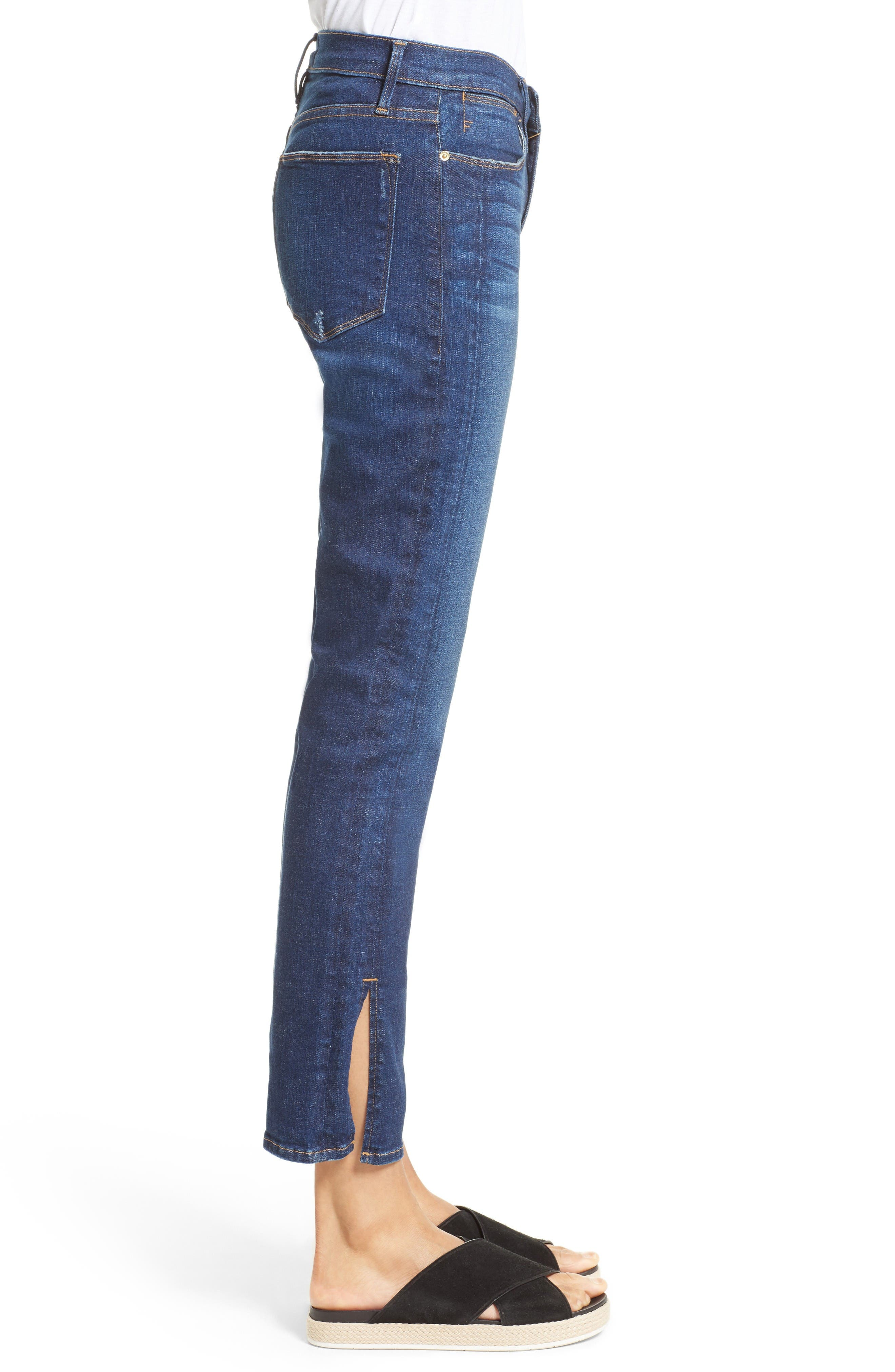 Le High Straight Leg Tuxedo Jeans,                             Alternate thumbnail 4, color,                             Helms