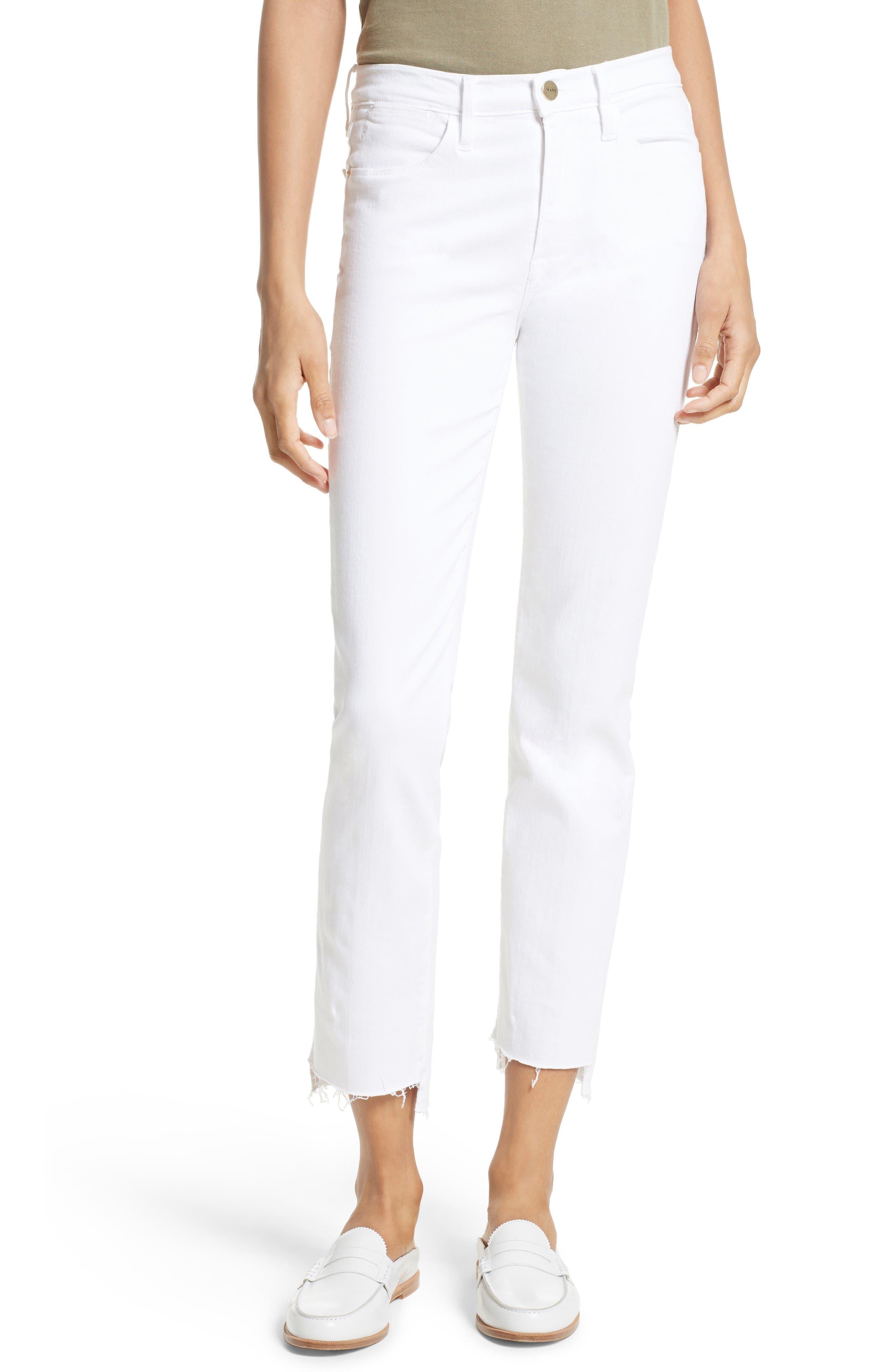 FRAME Le High Straight High Waist Staggered Hem Jeans (Blanc)