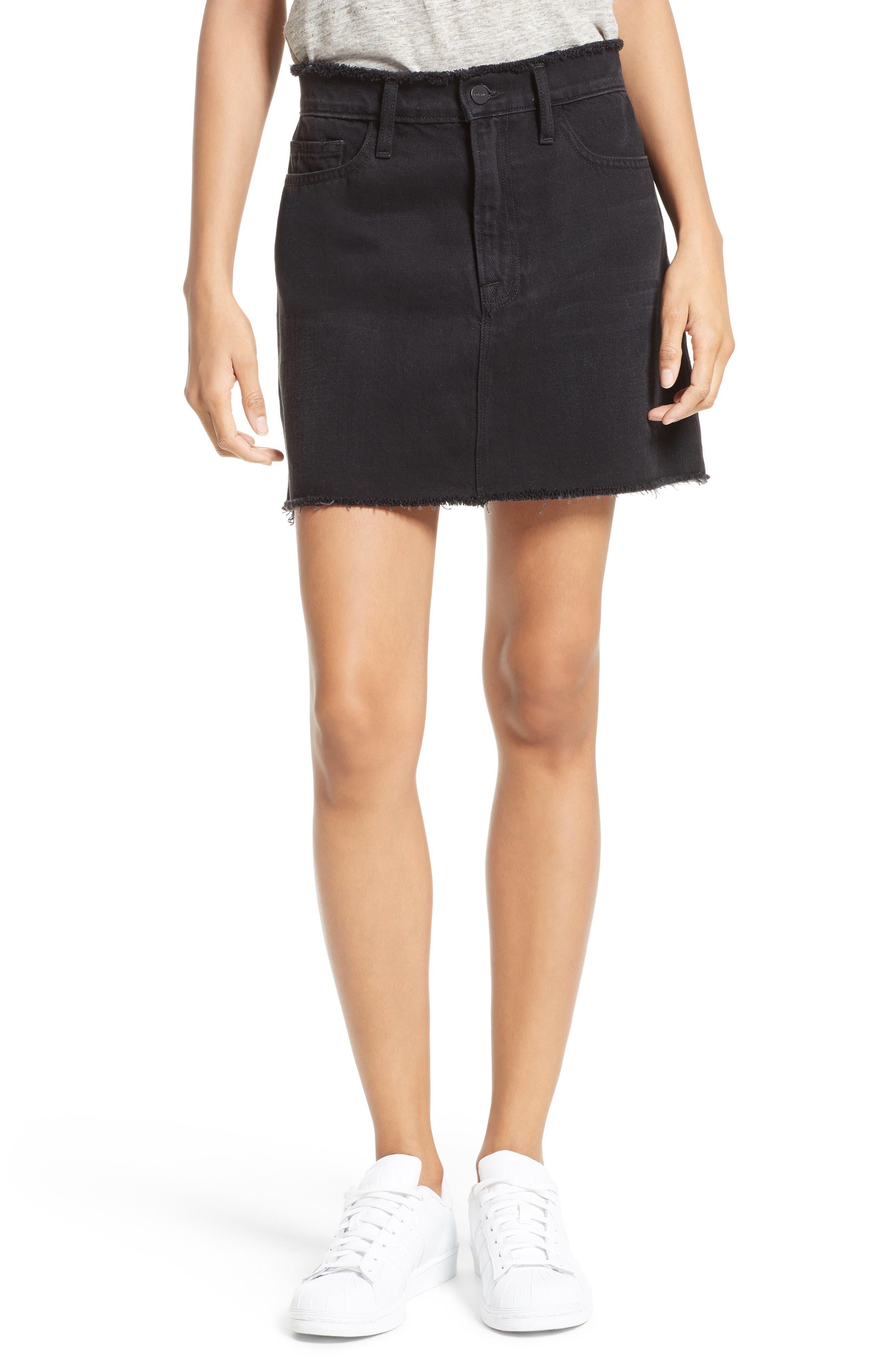 Le Mini Denim Skirt,                         Main,                         color, Black Forest